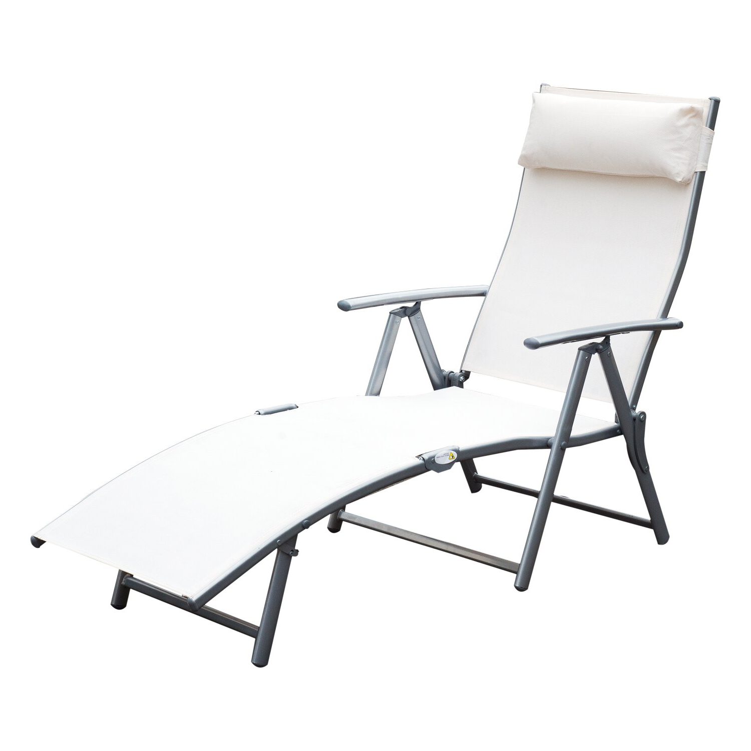 Popular Fabric Reclining Outdoor Chaise Lounges Intended For Outsunny Sling Fabric Patio Reclining Chaise Lounge Chair Folding 5  Position Adjustable Outdoor Deck With Cushion – Cream White (Gallery 5 of 25)