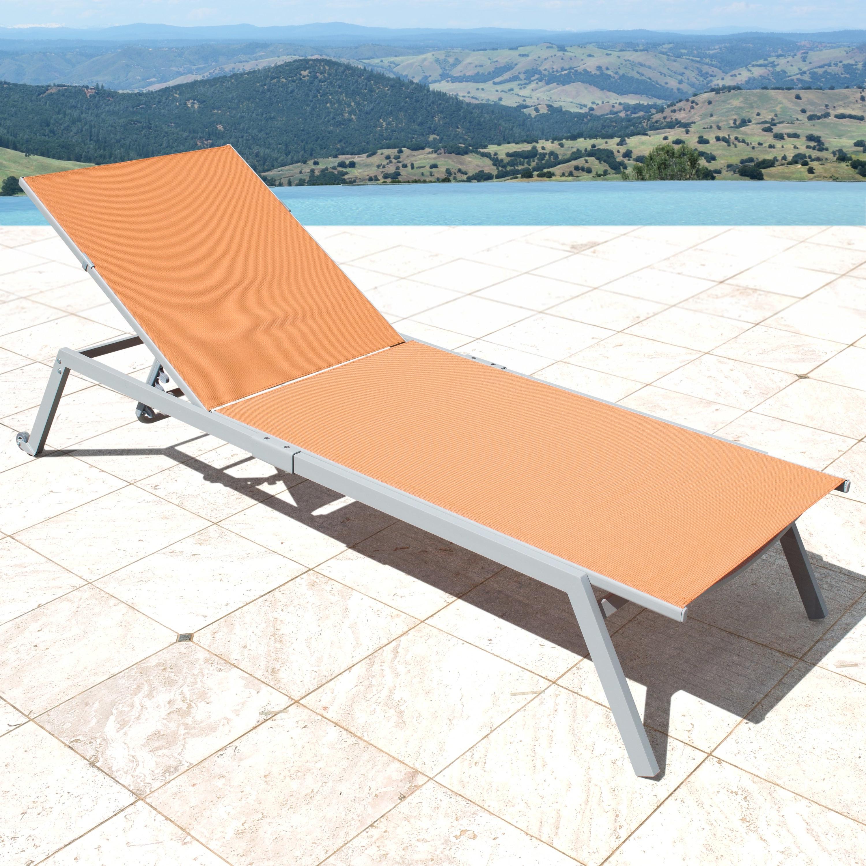 Popular Fabric Reclining Outdoor Chaise Lounges Regarding Corvus Torino Sling Fabric Reclining Outdoor Chaise Lounges (set Of 4) (View 2 of 25)