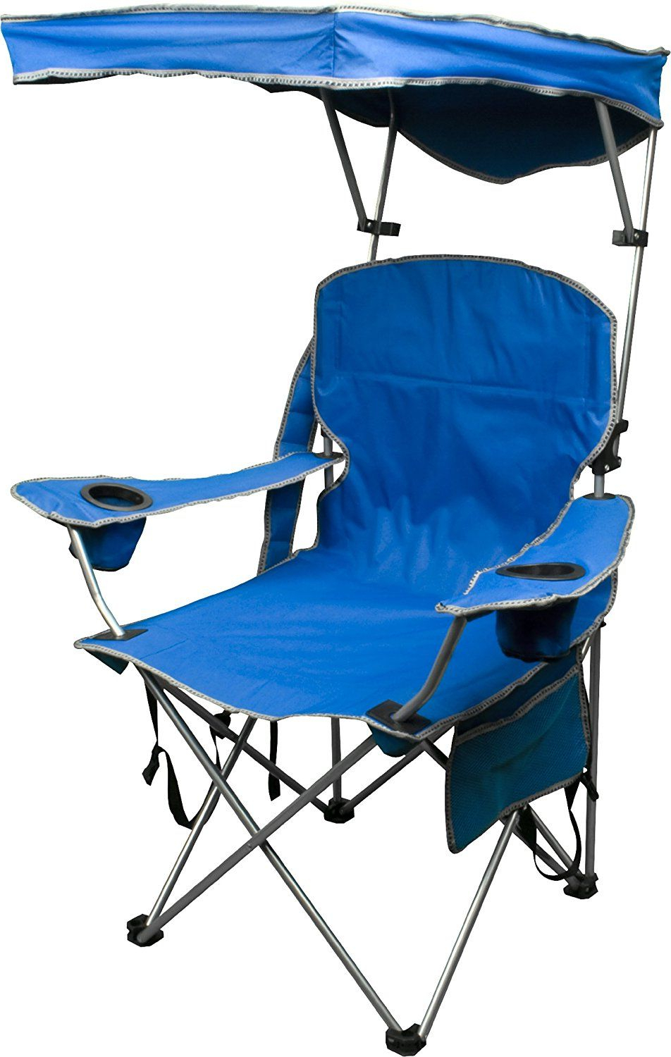 Popular Folding Patio Lounge Beach Chairs With Canopy Within Quik Shade Adjustable Canopy Folding Camp Chair (View 3 of 25)