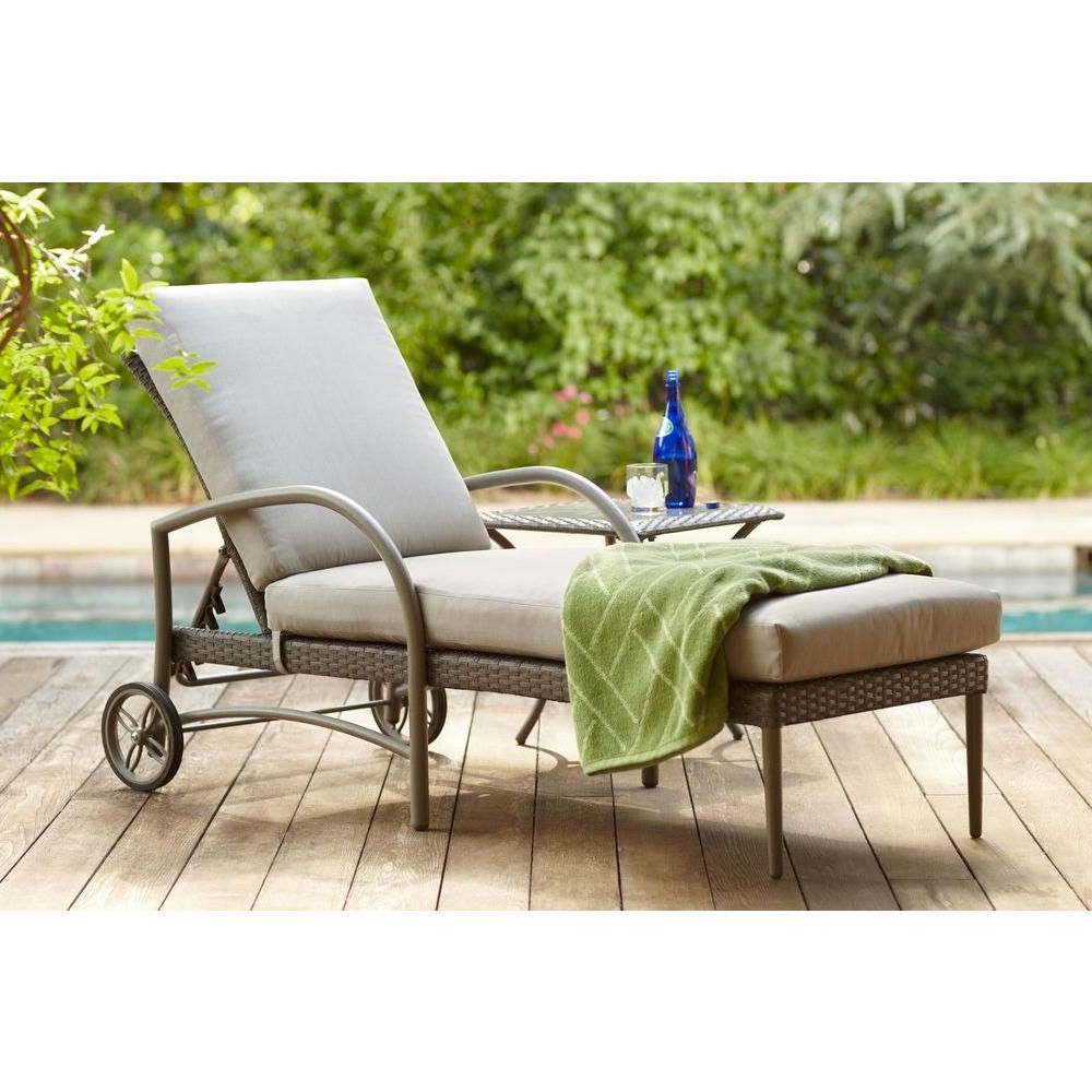 Popular Hampton Bay Posada Patio Chaise Lounge With Gray Cushion With Outdoor Living Inglewood Chaise Lounge Chairs (View 22 of 25)