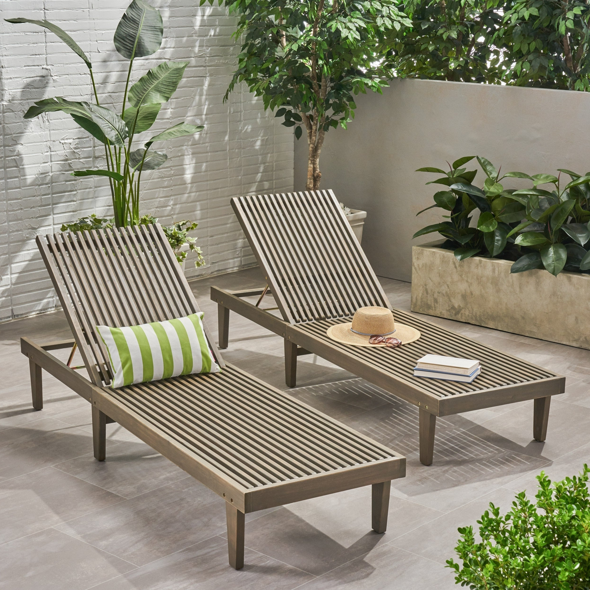 Popular Nadine Outdoor Adjustable Wood Chaise Lounge (set Of 2)christopher Knight Home For Outdoor Adjustable Wood Chaise Lounges (View 13 of 25)