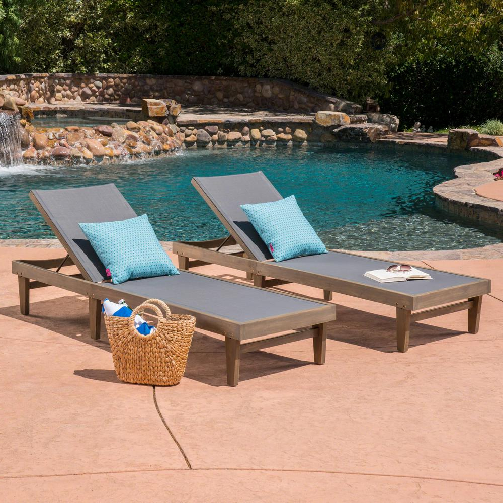Popular Noble House Summerland 2 Tone Gray Wood Adjustable Outdoor Chaise Lounges  (Set Of 2) Throughout Outdoor Adjustable Wood Chaise Lounges (View 22 of 25)