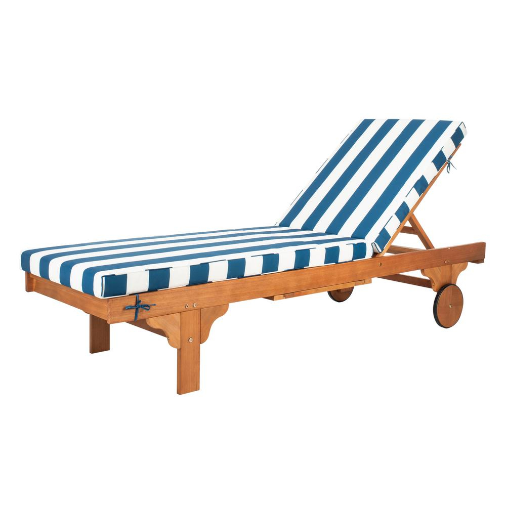 Popular Outdoor Adjustable Wood Chaise Lounges Inside Safavieh Newport Natural Brown Adjustable Wood Outdoor Lounge Chair With Navy And White Cushion (View 7 of 25)