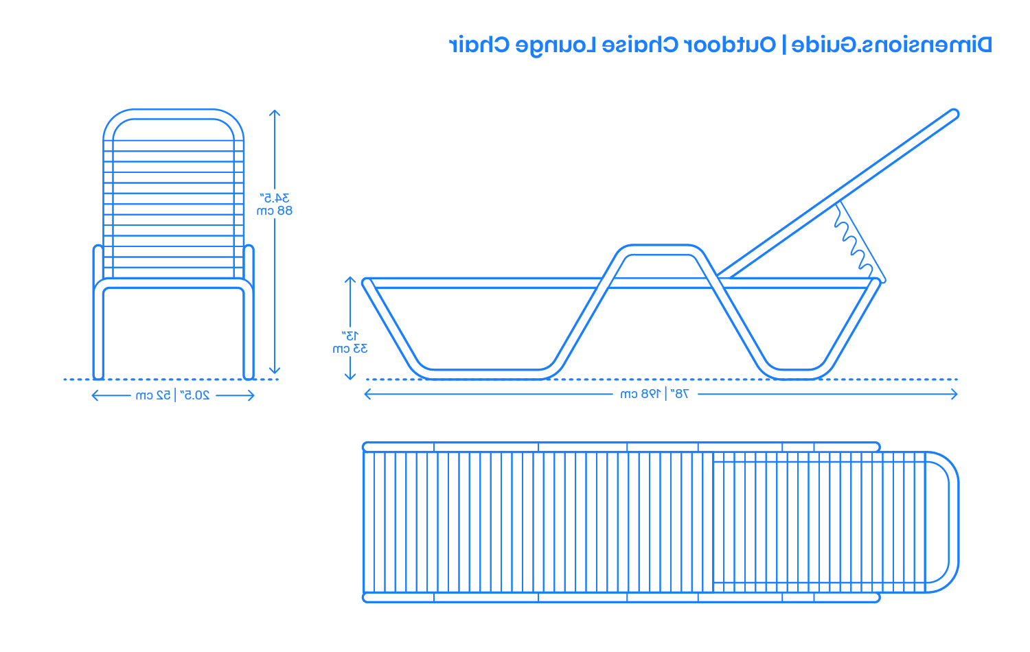 Popular Outdoor Chaise Lounge Chair Dimensions & Drawings Intended For Standard Size Chaise Lounge Chairs (View 9 of 25)