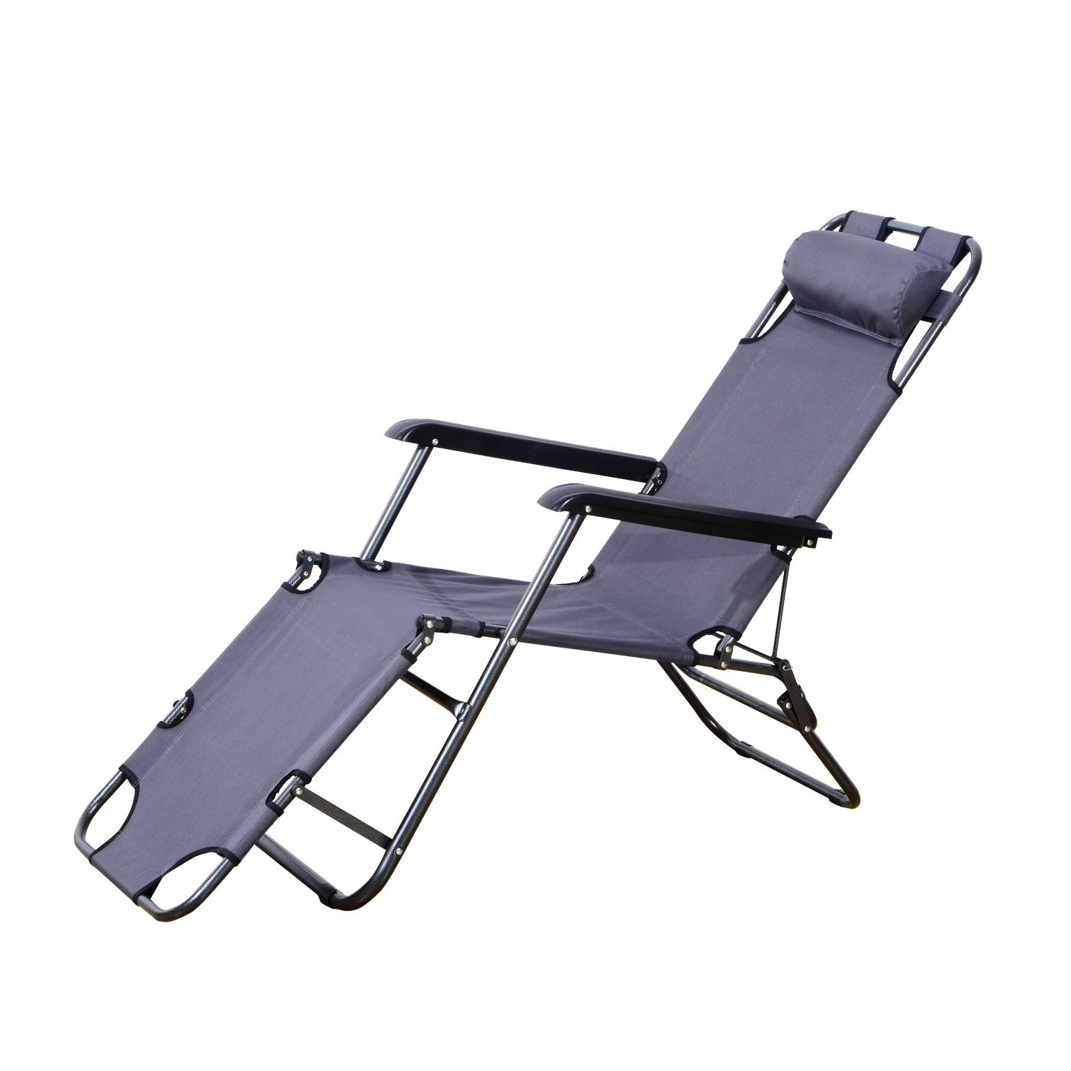 Popular Portable Extendable Folding Reclining Chairs In Outsunny Folding Lounge Chair Chaise Portable Recliner Sun Lounger Outdoor Garden Patio Grey (View 20 of 25)
