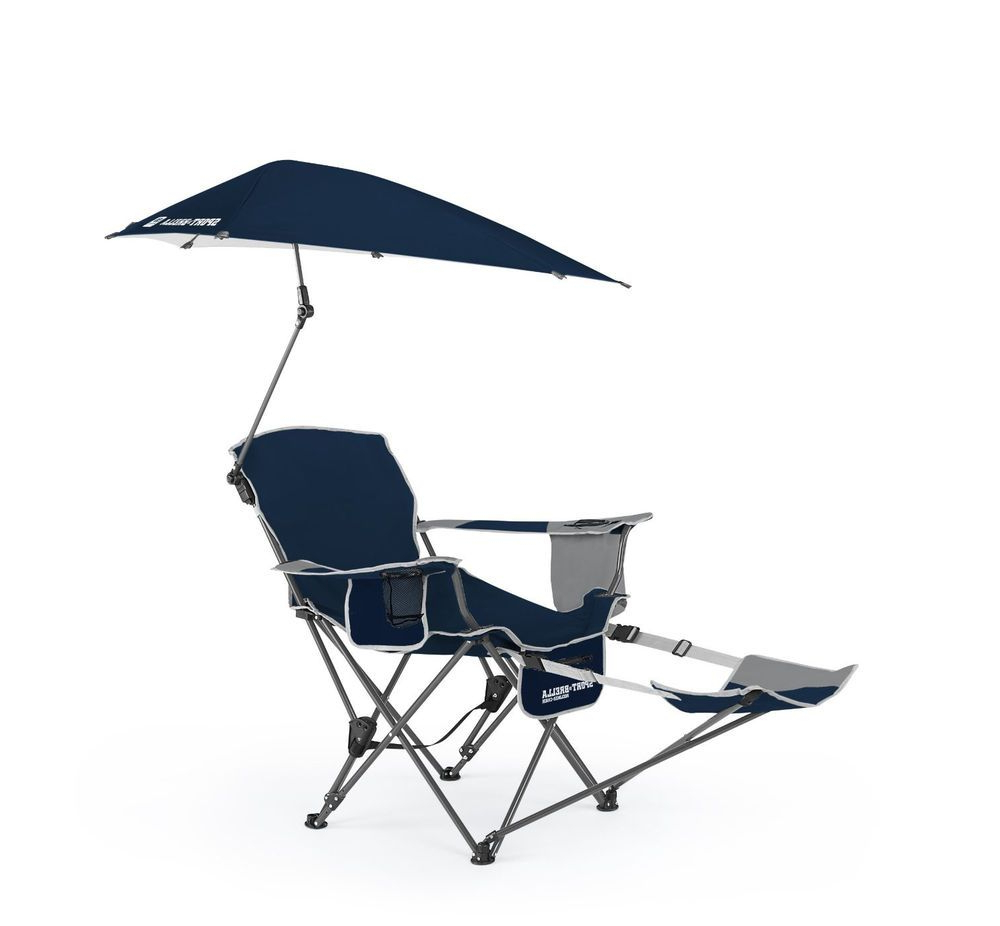 Popular Portable Extendable Folding Reclining Chairs Regarding Reclining Camping Chair With Umbrella Cup Holder Beach Pool (View 10 of 25)