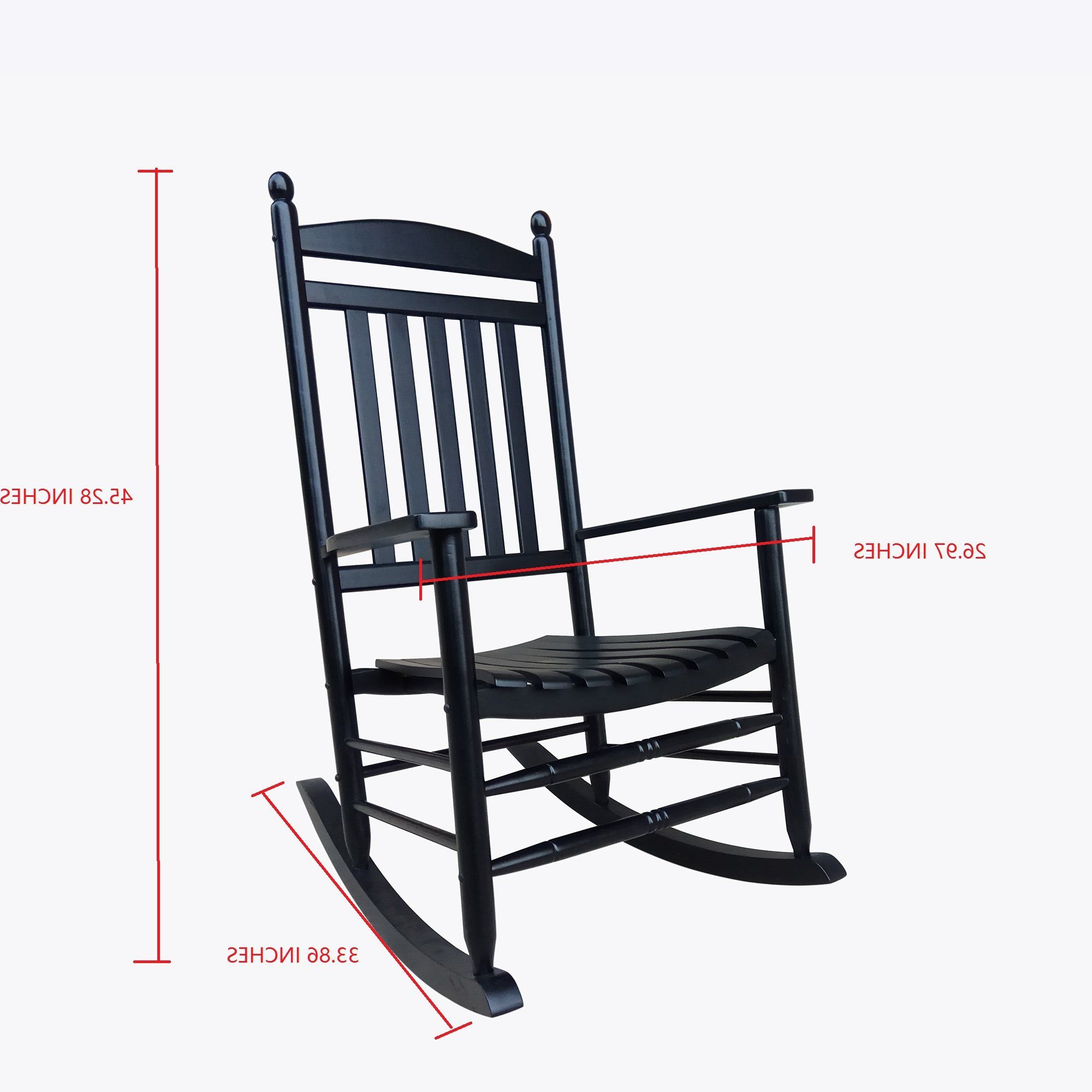 Popular Rockingrocker A040Bk Black Porch Rocker/rocking Chair Easy With Regard To Easy Outdoor Rocking Lounge Chairs (Gallery 13 of 25)