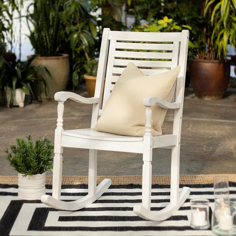 Popular Walker Edison Furniture Company White Wash Acacia Wood Outdoor Rocking Chair In Easy Outdoor Rocking Lounge Chairs (Gallery 16 of 25)