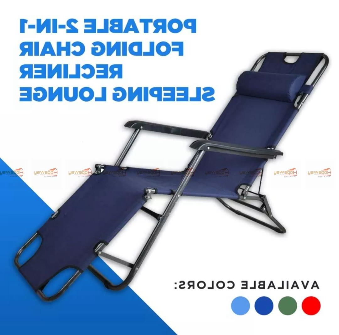 Portable Extendable Folding Reclining Chairs Regarding Newest Hopeway Portable 2In1 Folding Chair Recliner Sleeping Loung (View 7 of 25)