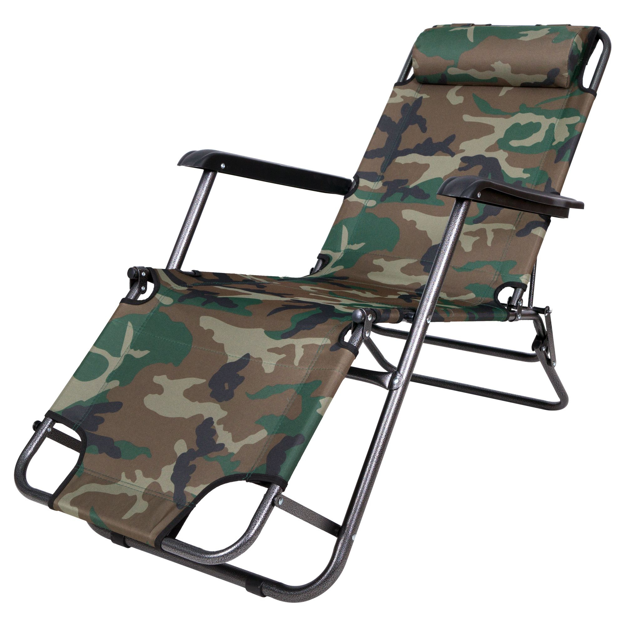 Portable Reclining Beach Chaise Lounge Folding Chairs For Most Current Story@home Folding Recliner Beach Lounge Garden Outdoor Portable Chair, Camo (View 22 of 25)