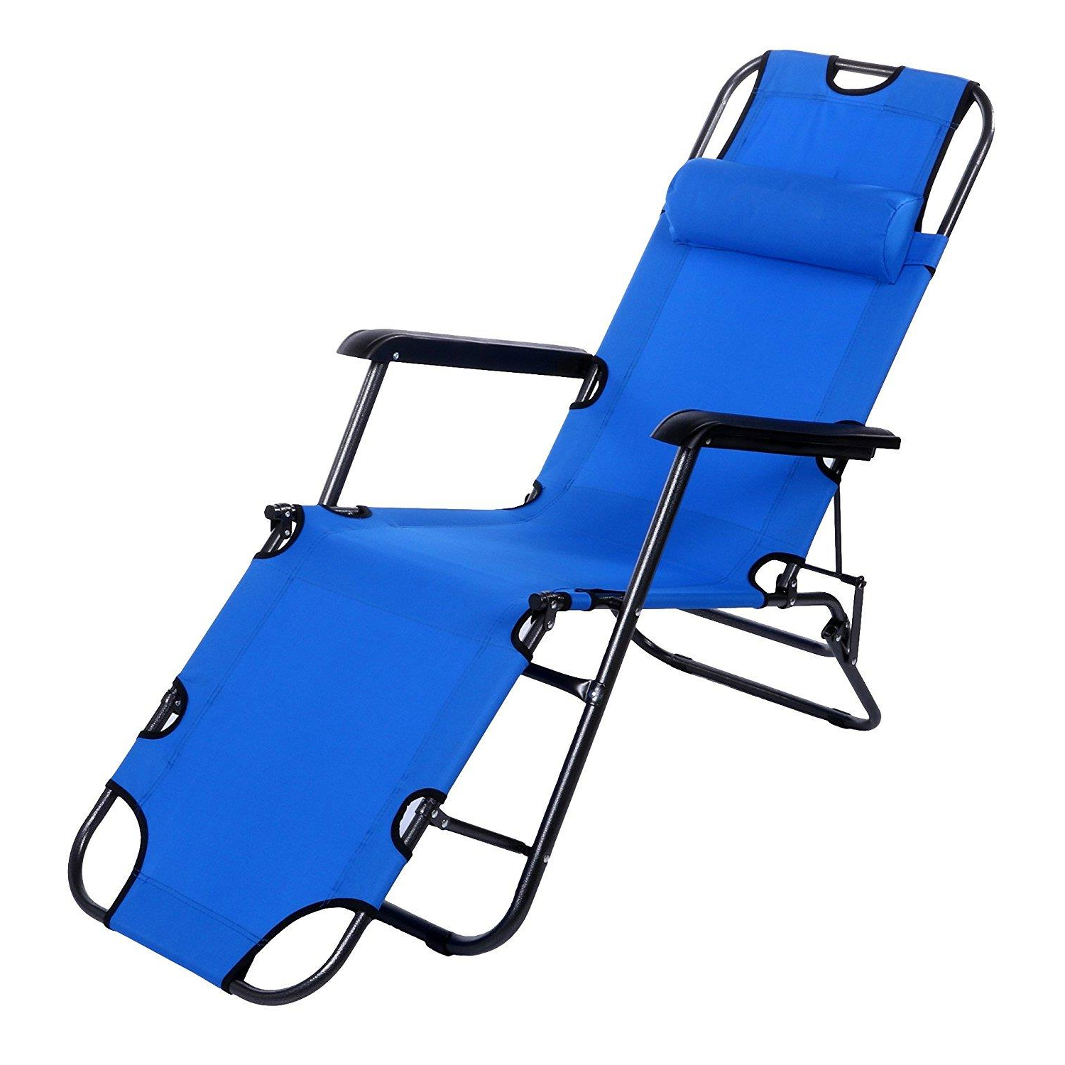 Portable Reclining Beach Chaise Lounge Folding Chairs Regarding Best And Newest Ktaxon Outdoor Folding Lounge Chaise Portable Beach Recliner Patio Chair, Garden Camping Pool Yard Lawn Recliner Portable Beach Pool Chair With (Gallery 7 of 25)