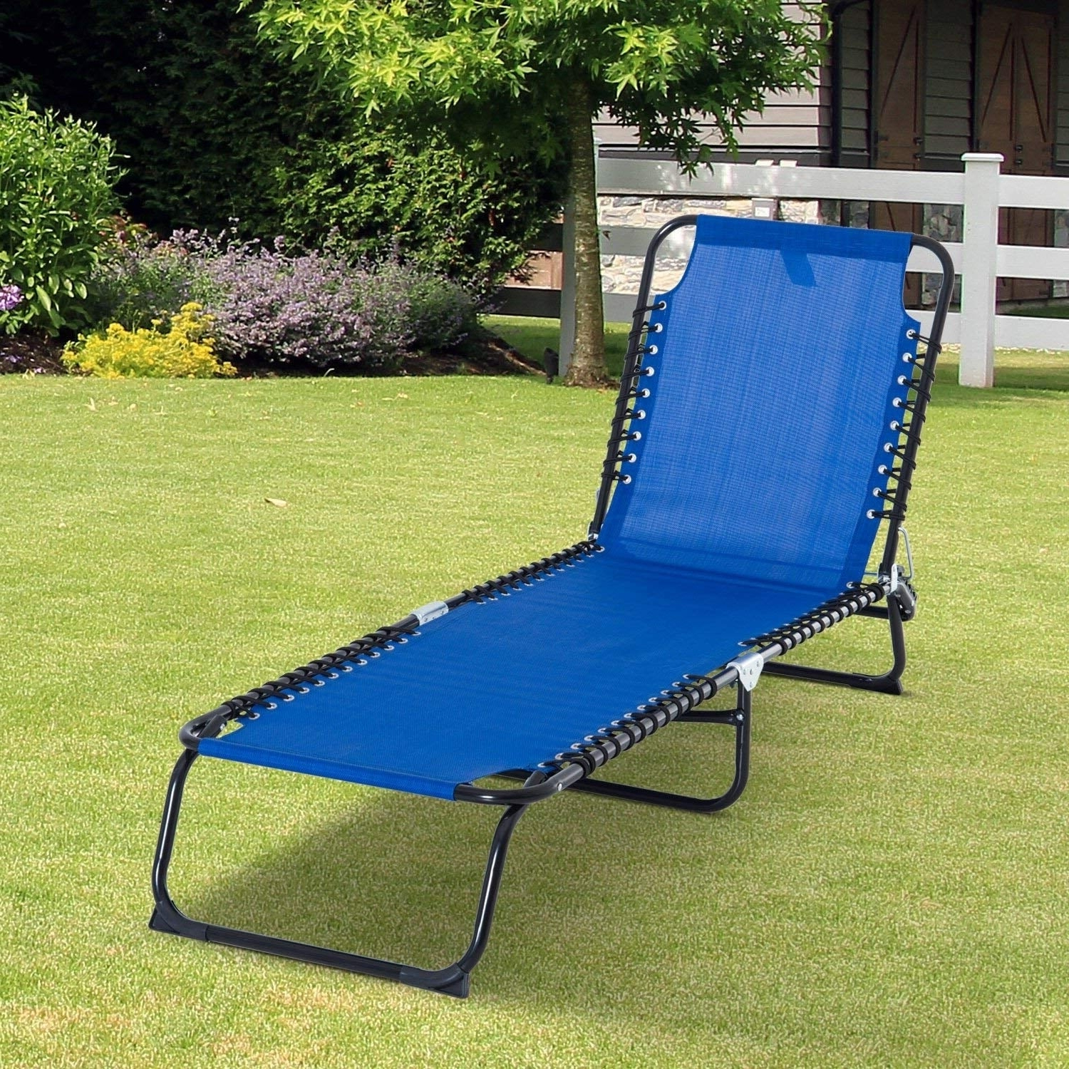 Portable Reclining Beach Chaise Lounge Folding Chairs With Preferred Outsunny 3 Position Portable Reclining Beach Chaise Lounge Folding Chair Outdoor Patio – Light Blue (View 9 of 25)