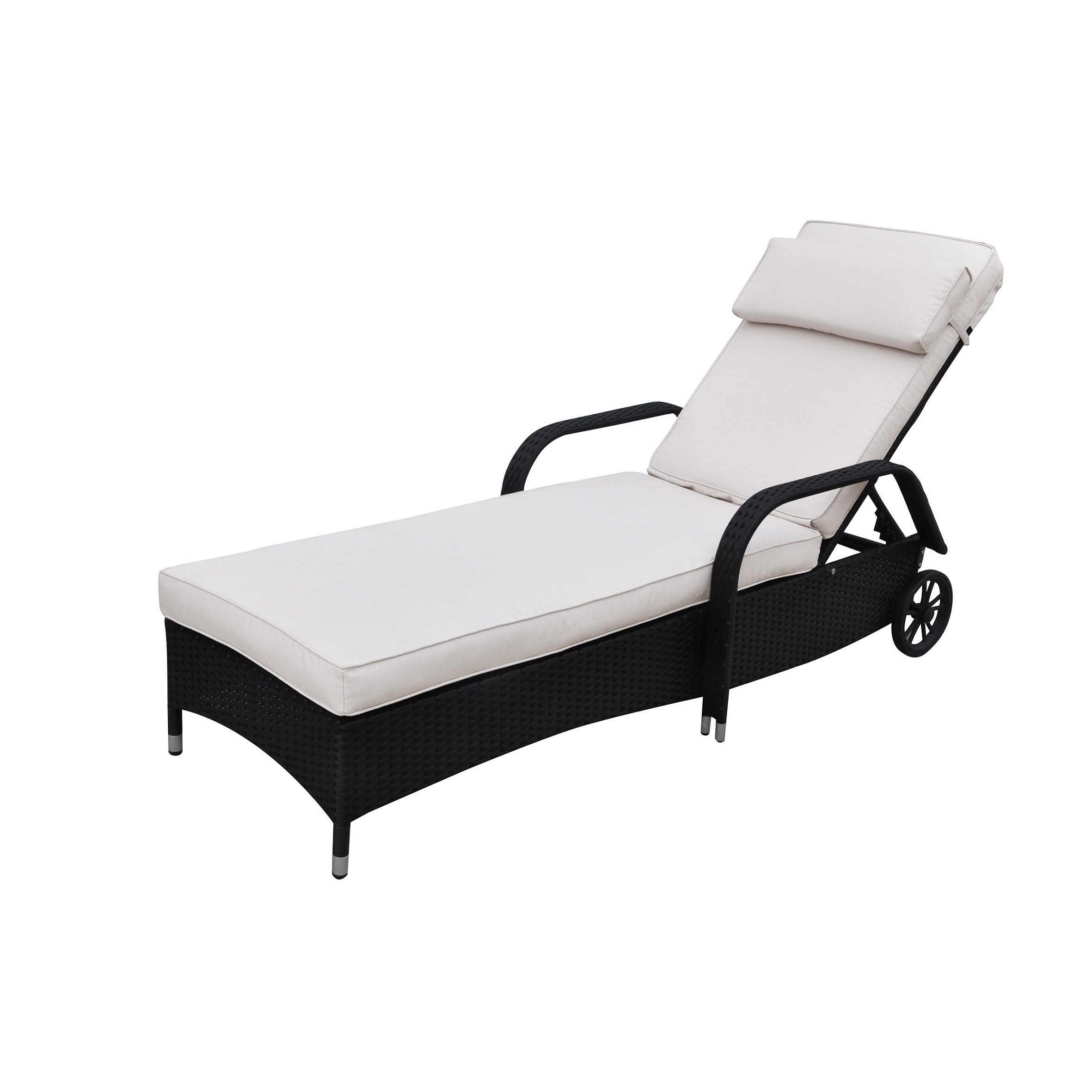 Poundex Lizkona All Weather Single Outdoor Adjustable Lounger Inside Fashionable All Weather Single Outdoor Adjustable Loungers (View 5 of 25)