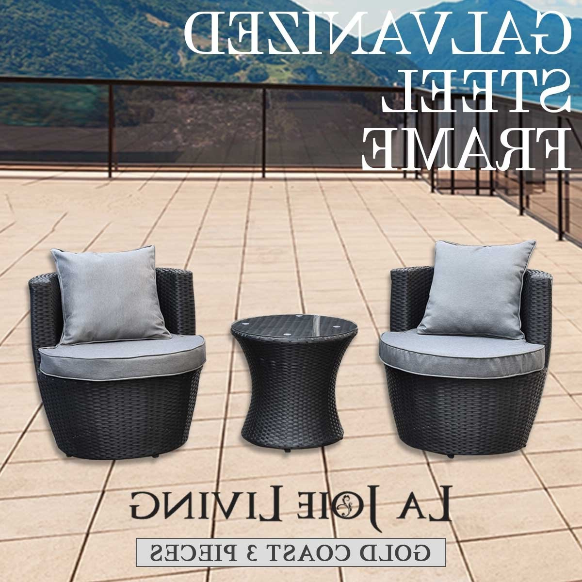 Preferred 3 Piece Patio Lounger Sets Pertaining To Gold Coast 3 Piece Outdoor Garden Balcony Set Furniture Rattan Wicker Steel Frame (View 16 of 25)