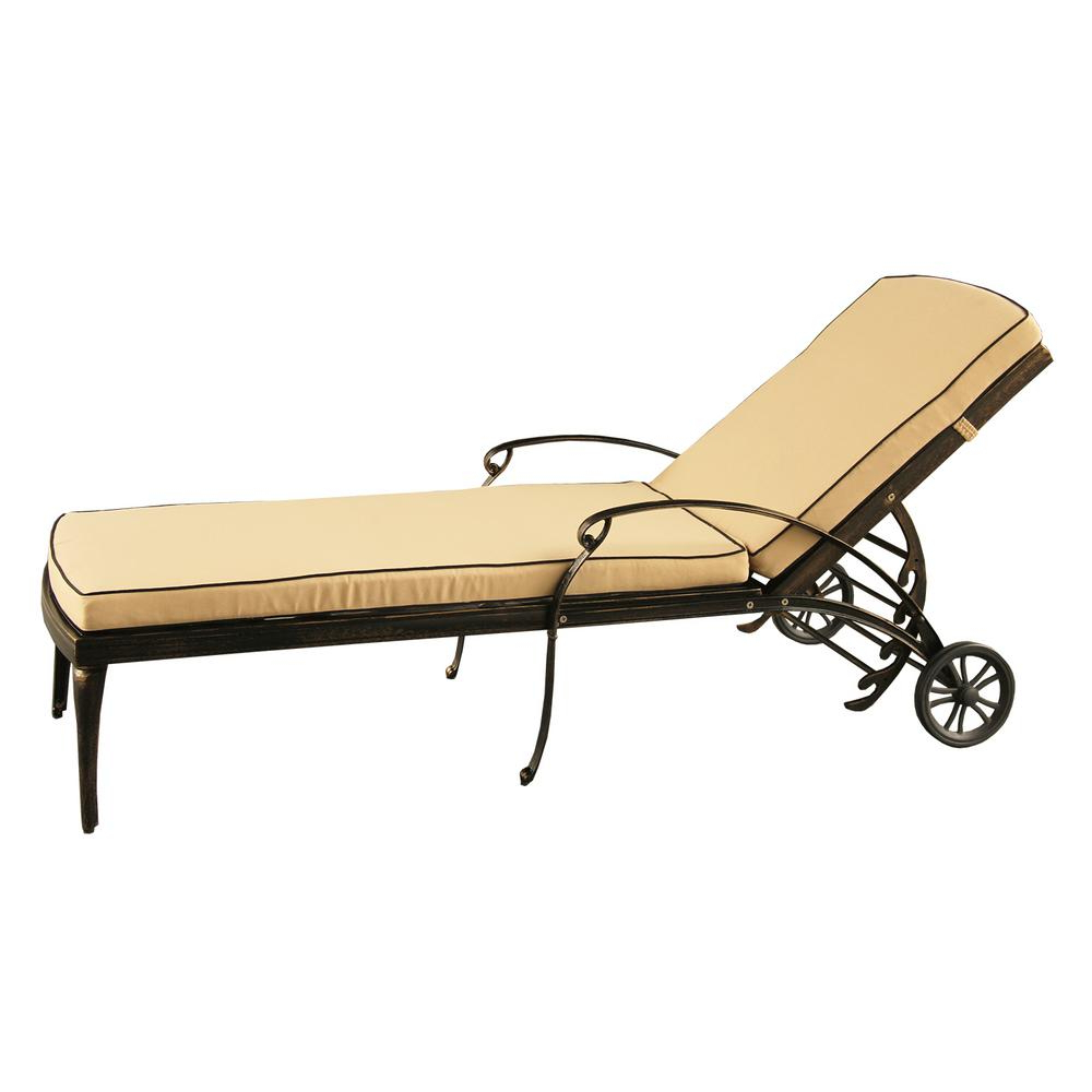 Preferred Aluminum Wheeled Chaise Lounges Within Contemporary Modern Mesh Lattice Aluminum Outdoor Patio Garden Pool Chaise Lounge In Bronze With Wheels And Cushion (View 3 of 25)