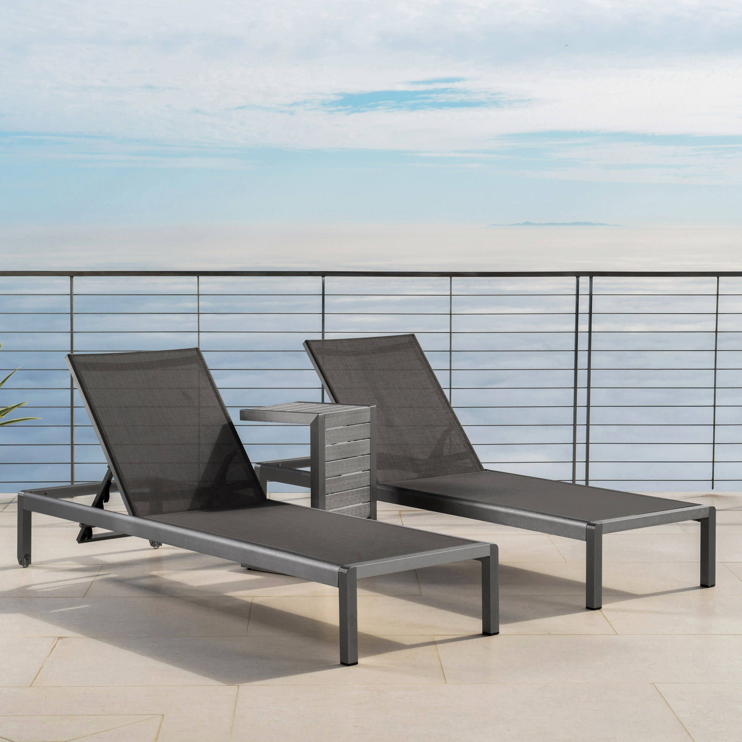 Preferred Cape Coral Outdoor Aluminum 3 Piece Chaise Lounge Set For Cape Coral Outdoor Aluminum Mesh Chaise Lounges (View 23 of 25)