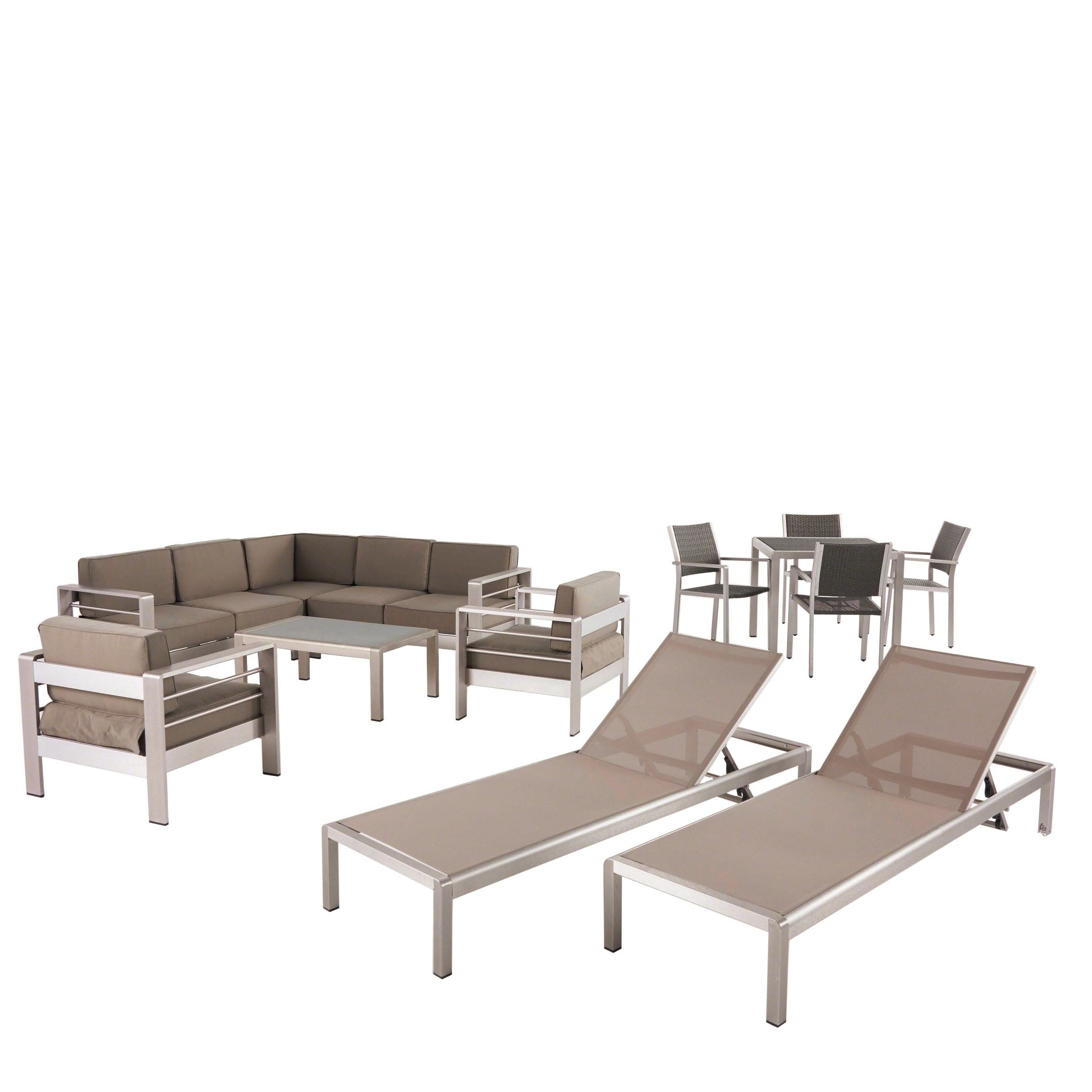 Preferred Christopher Knight Home Cape Coral Outdoor Dining Set + Sectional Sofa Set + Club Chairs + Chaise Lounges + Coffee Table By Pertaining To Cape Coral Outdoor Chaise Lounges With Cushion (View 24 of 25)