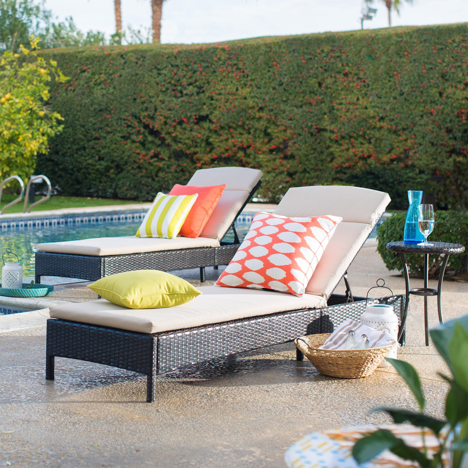 Preferred Coral Coast Berea All Weather Wicker Chaise Lounges With Side Table – 3 Piece Set Regarding Outdoor 3 Piece Wicker Chaise Lounges And Table Sets (View 13 of 25)