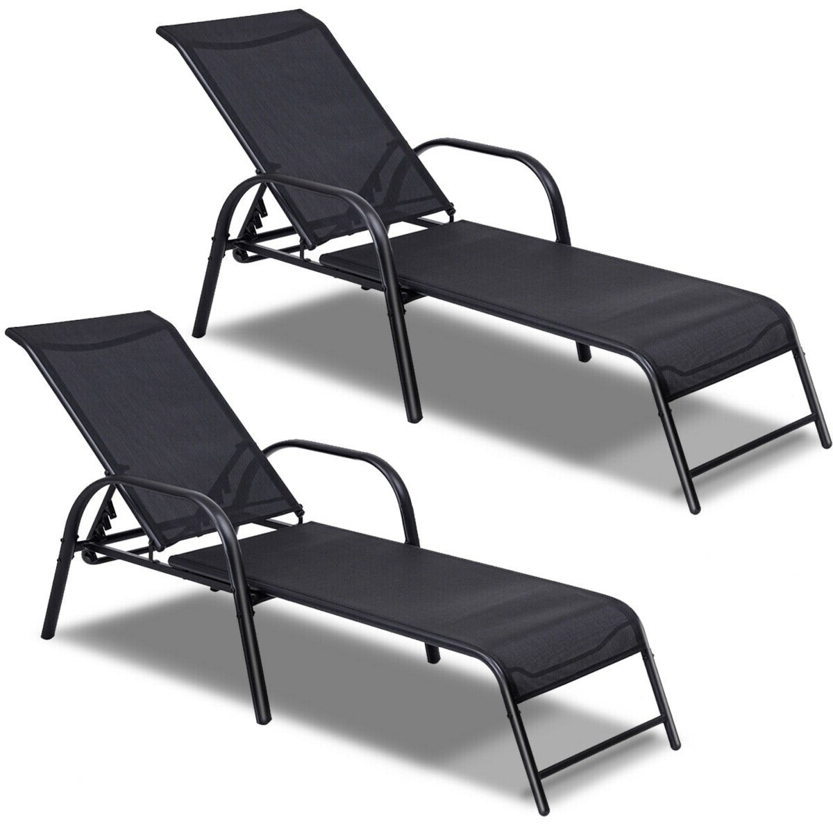 Preferred Costway Set Of 2 Patio Lounge Chairs Sling Chaise Lounges Recliner Adjustable Back Regarding Multi Position Iron Chaise Lounges (Gallery 23 of 25)