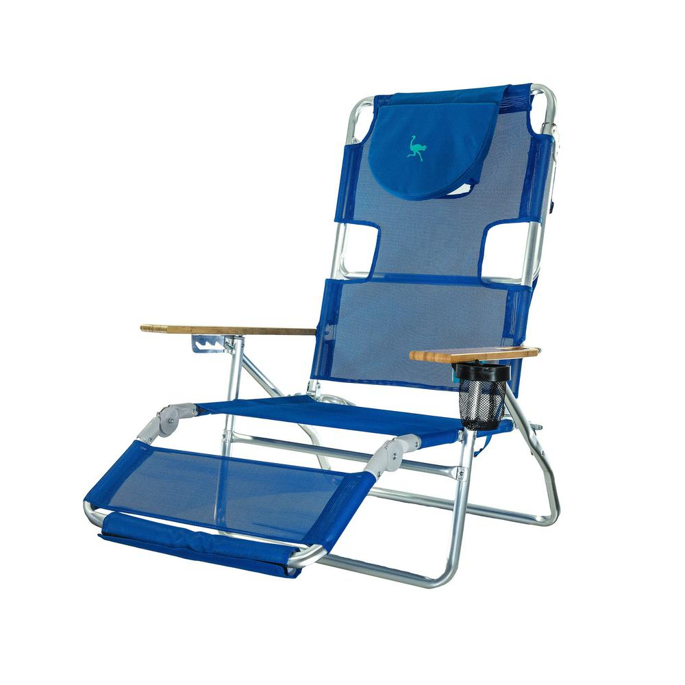 Preferred Extra Wide Recliner Lounge Chairs Intended For Deltess Ostrich 3 In 1 Blue Aluminum Folding Beach Chair (View 23 of 25)