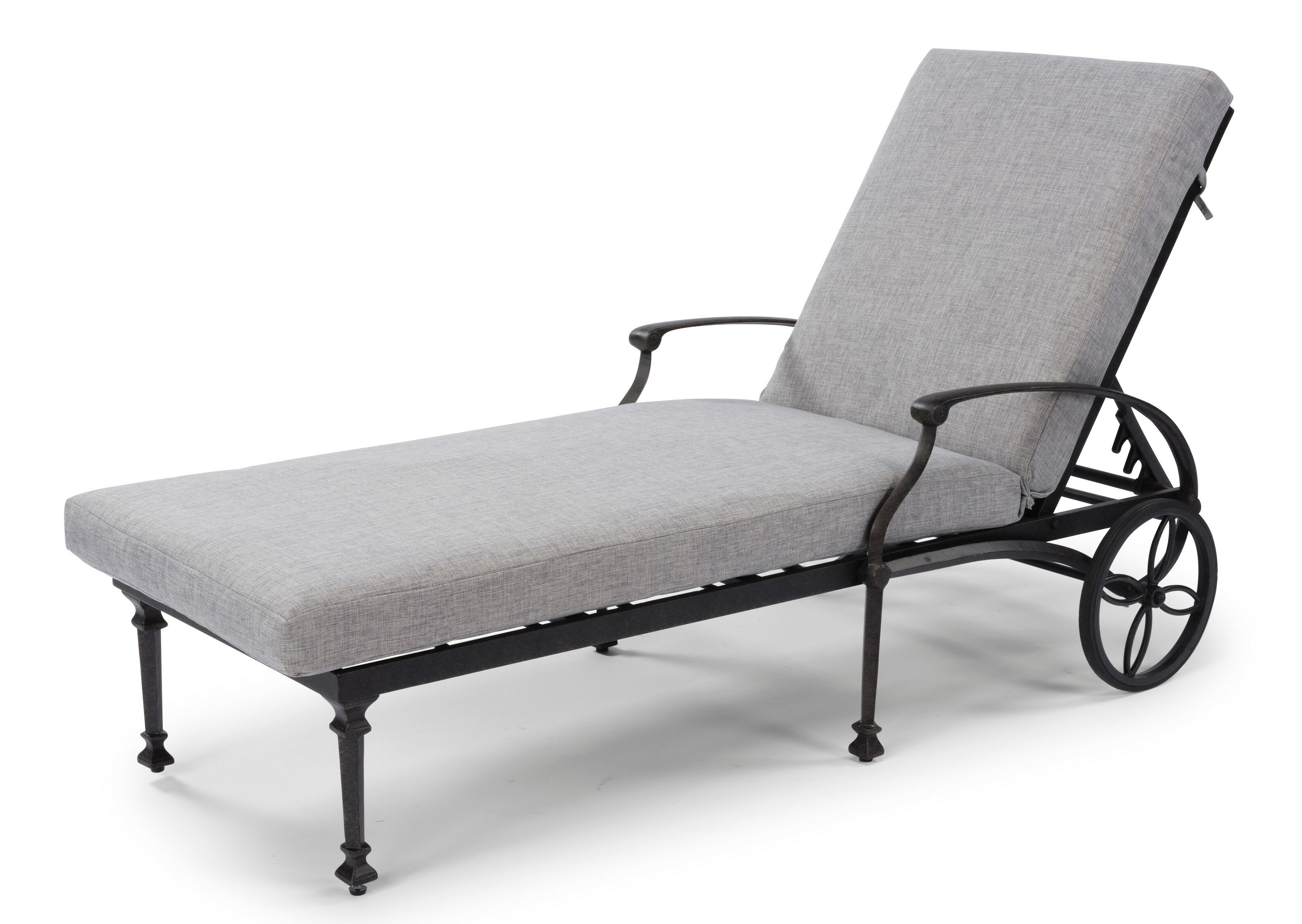 Preferred Flagg Cast Aluminum Outdoor Chaise Lounge With Cushion Pertaining To Aluminum Wheeled Chaise Lounges (View 18 of 25)