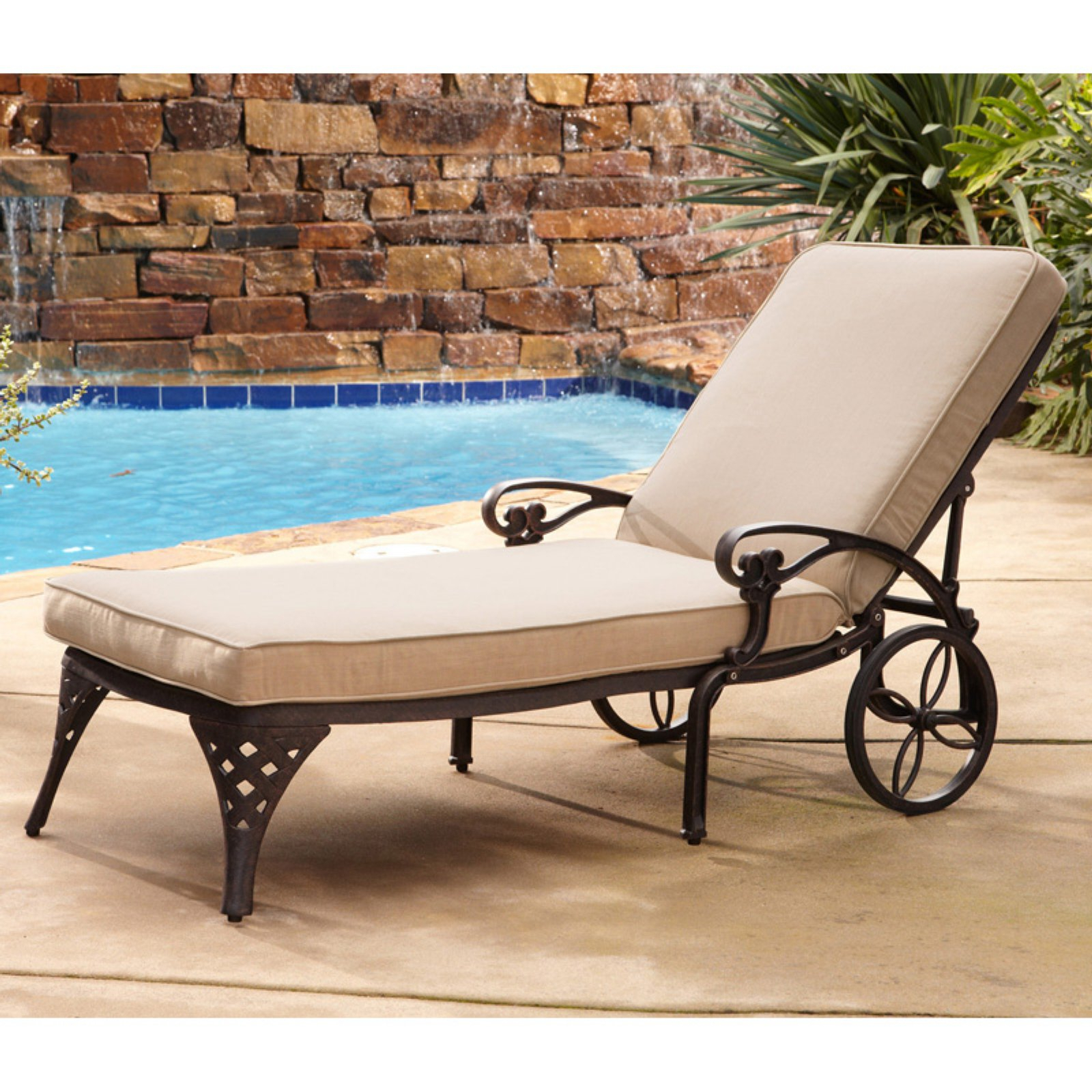 Preferred Lattice Outdoor Patio Pool Chaise Lounges With Wheels And Cushion In Outdoor Home Styles Biscayne Chaise Lounge Chair Without (View 10 of 25)
