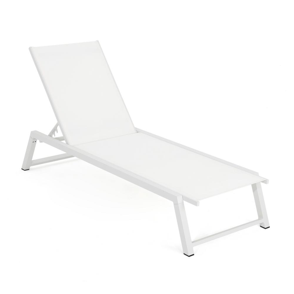 Preferred Noble House Myers White Aluminum Adjustable Outdoor Chaise Lounge In Myers Outdoor Aluminum Mesh Chaise Lounges (View 15 of 25)