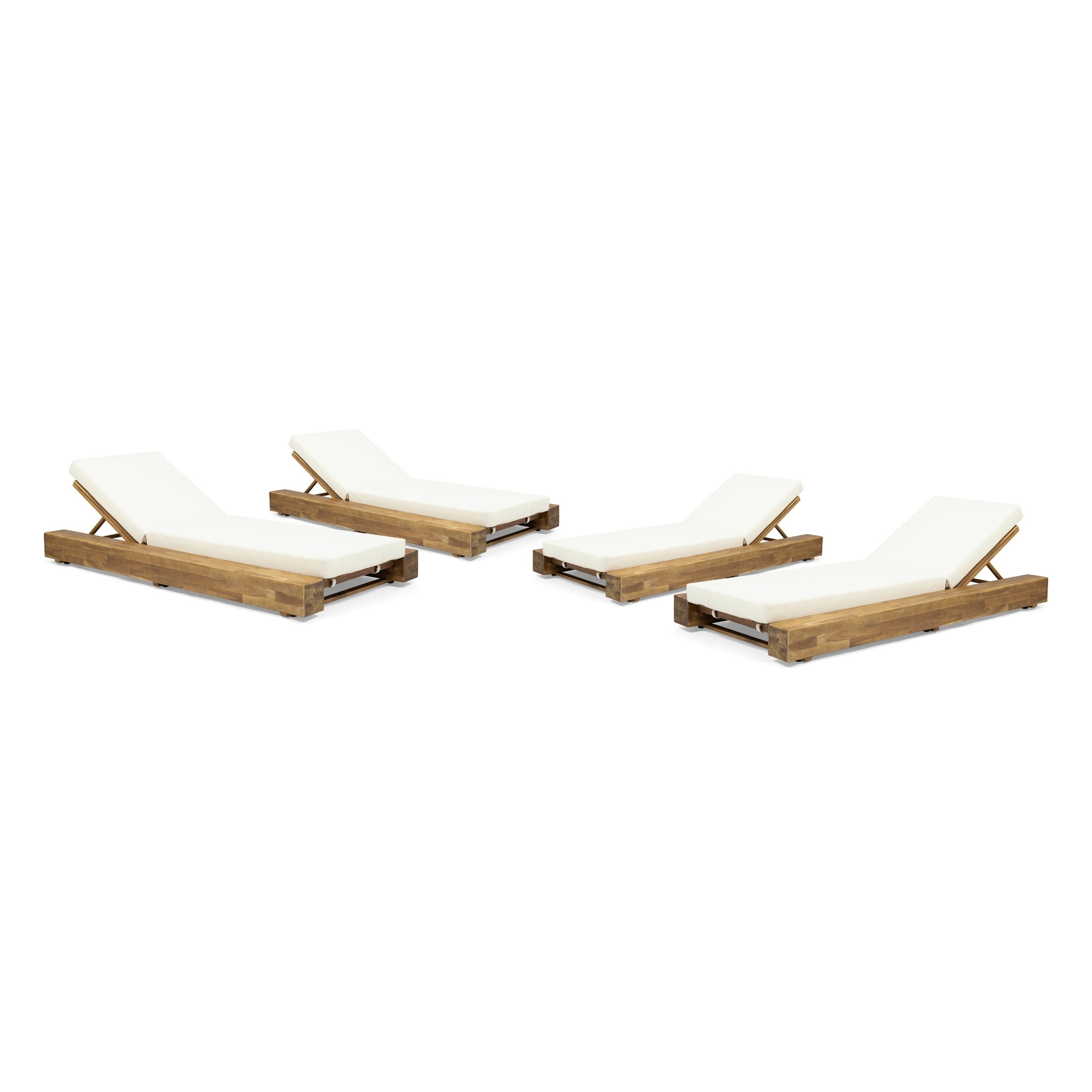 Preferred Outdoor 3 Piece Acacia Wood Chaise Lounge Sets Within Broadway Outdoor Acacia Wood Chaise Lounge And Cushion Sets (Set Of 4) Christopher Knight Home (View 3 of 25)