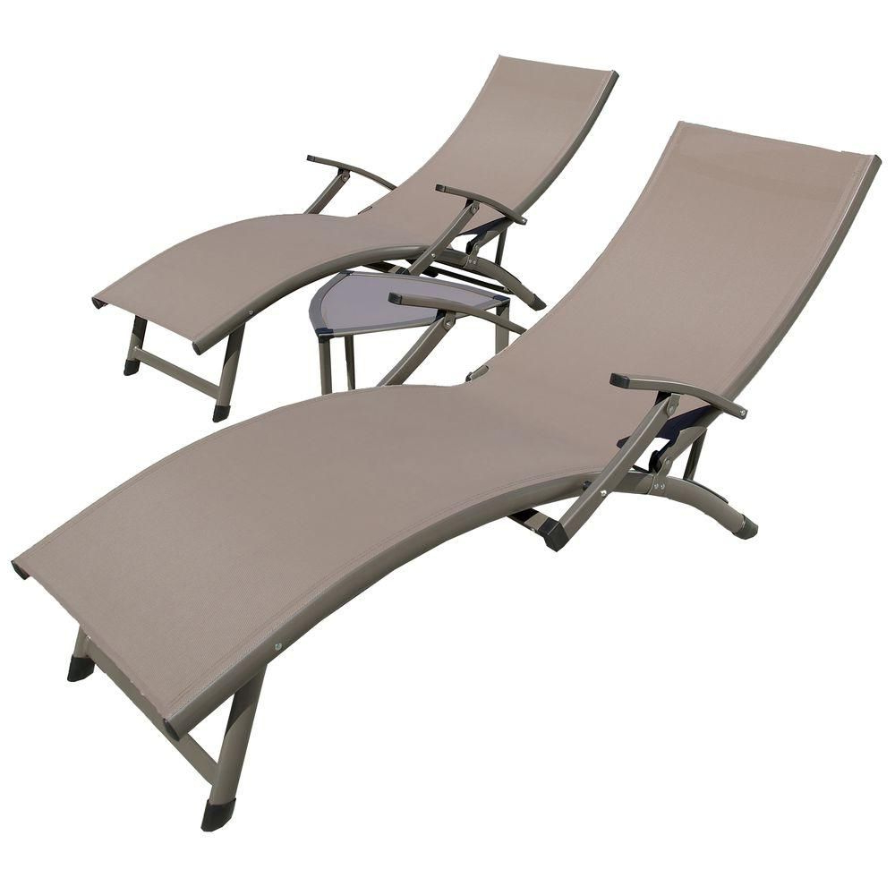Preferred Outdoor 3 Piece Chaise Lounger Sets With Table Inside Rst Brands Sol Sling 3 Piece Taupe Patio Lounger And Side (View 14 of 25)