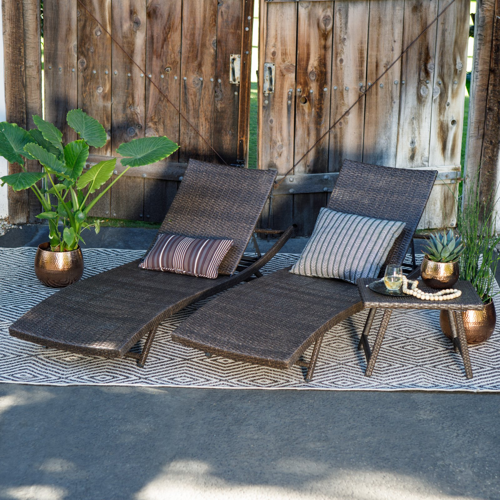Preferred Outdoor 3 Piece Wicker Chaise Lounges And Table Sets Within Coral Coast Ashley All Weather Wicker 3 Piece Chaise Lounge Set With Table – Walmart (View 19 of 25)