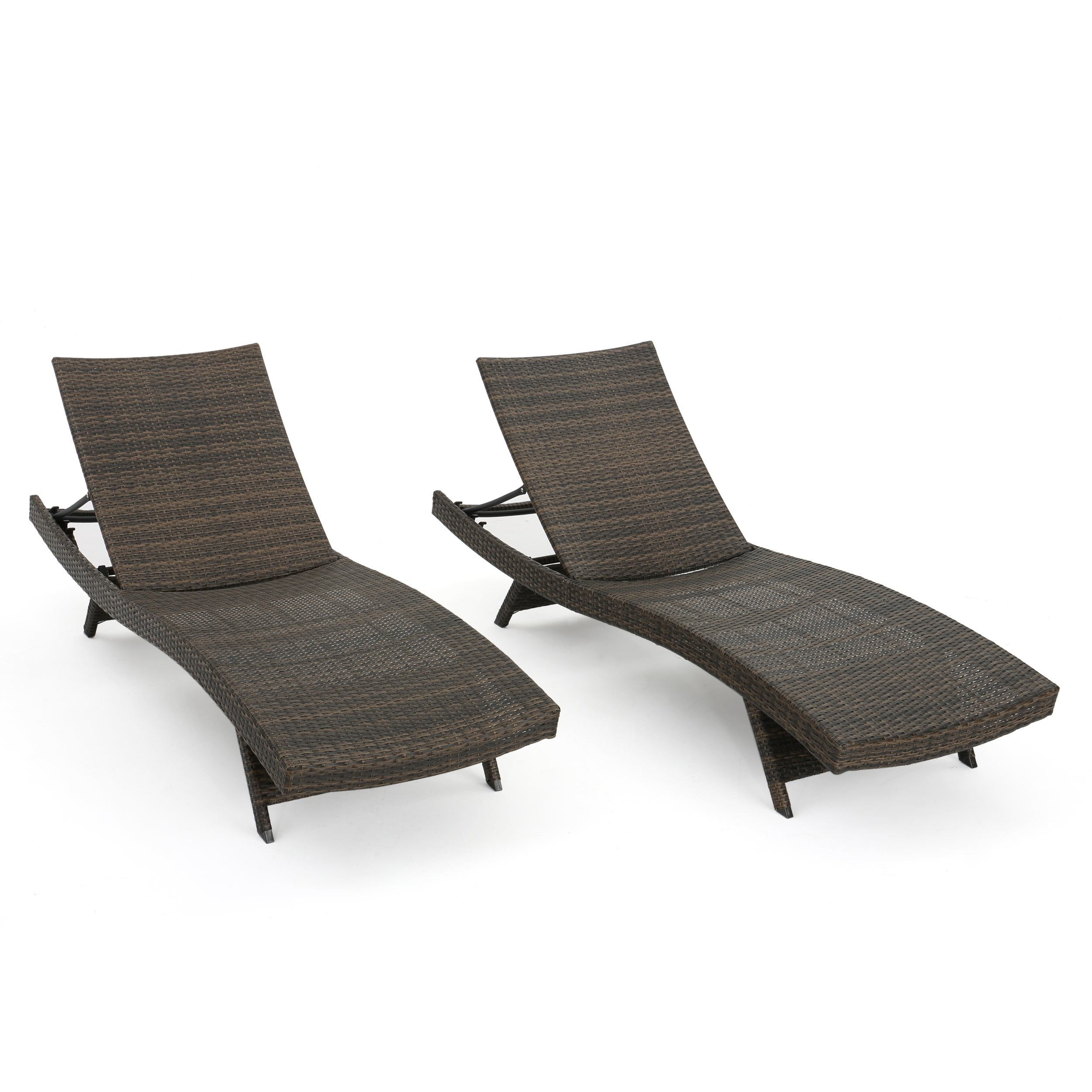Preferred Outdoor Aluminum Chaise Lounges Intended For Thelma Outdoor Aluminum Wicker Chaise Lounge, Set Of 2, Mixed Mocha (Gallery 8 of 25)