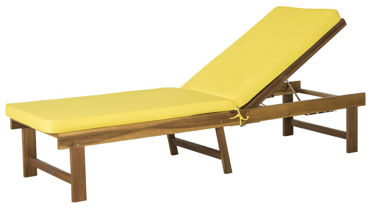 Preferred Outdoor Living Inglewood Brown Acacia Wood Beige Cushion Lounge Chairs Throughout Pat6723C Outdoor Chaise Loungers – Furnituresafavieh (View 22 of 25)