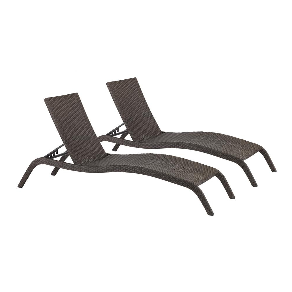 Preferred Outdoor Wicker Chaise Lounge Chairs With Hampton Bay Tacana Wicker Outdoor Chaise Lounge (2 Pack) (View 8 of 25)