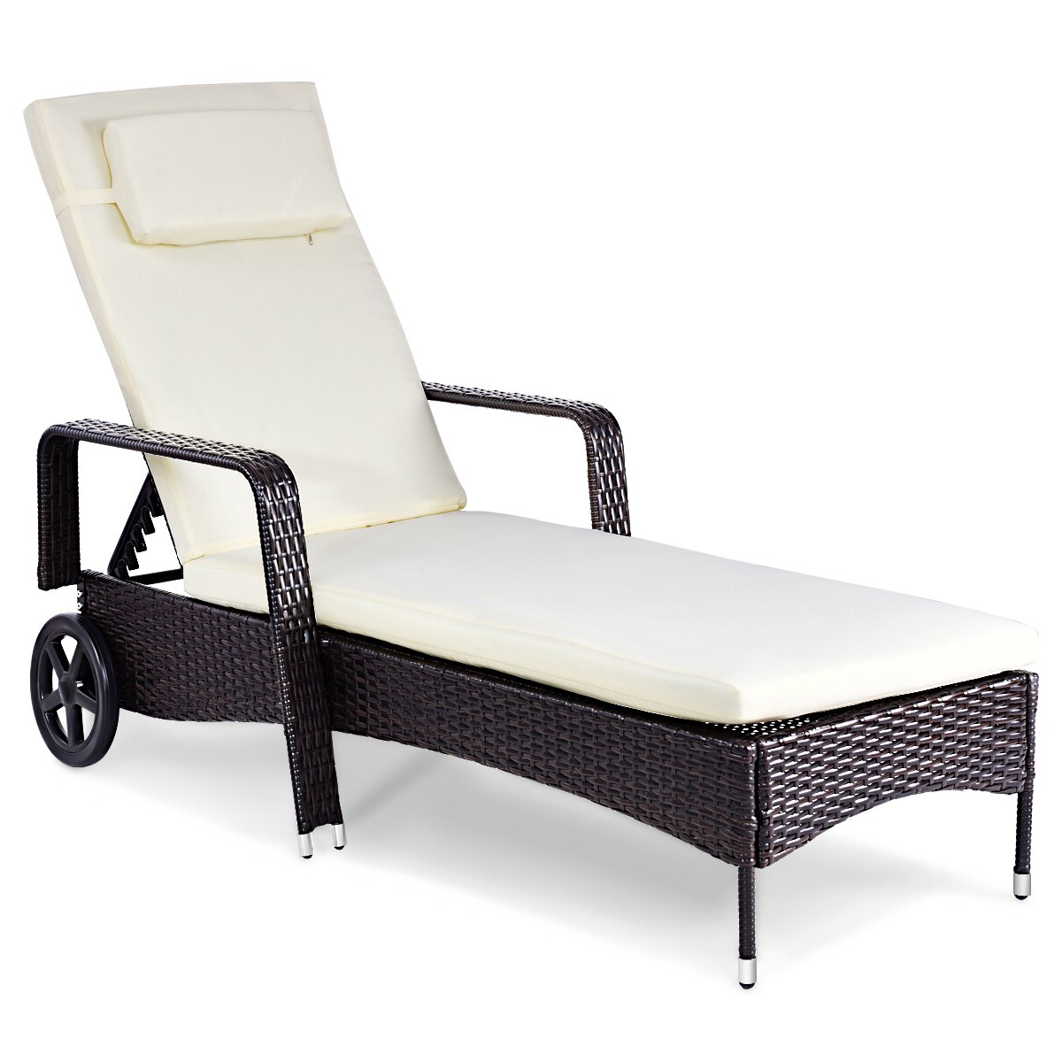 Preferred Wicker Chaise Back Adjustable Patio Lounge Chairs With Wheels With Costway Outdoor Chaise Lounge Chair Recliner Cushioned Patio Furniture Adjustable Wheels (View 6 of 25)