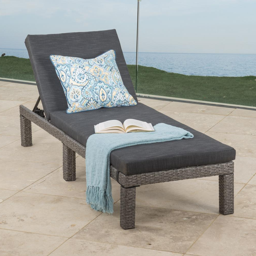 Puerta Mixed Black Wicker Outdoor Chaise Lounge With Dark Grey Cushion In Well Liked Jamaica Outdoor Wicker Chaise Lounges With Cushion (Gallery 15 of 25)