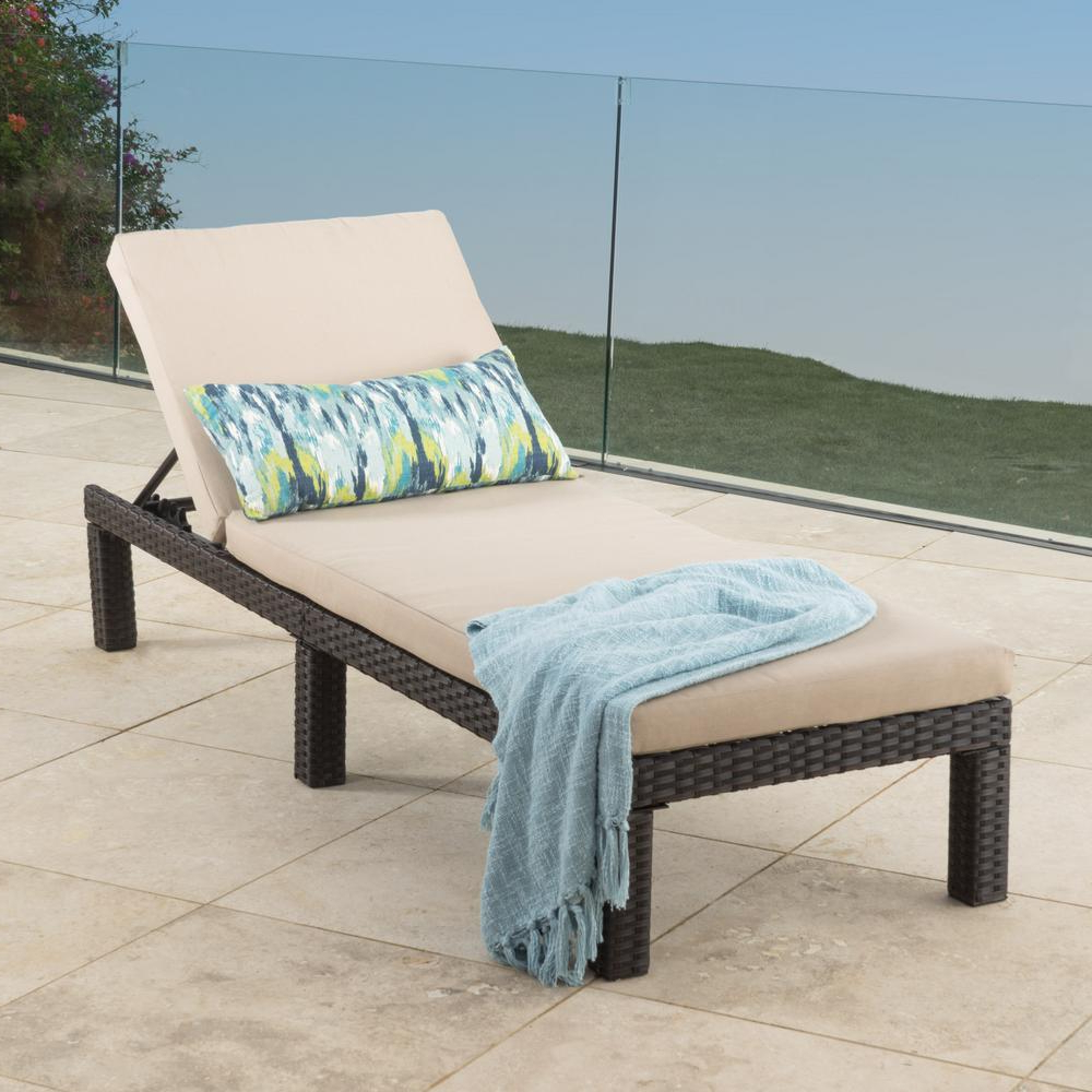 Puerta Mixed Black Wicker Outdoor Chaise Lounge With Dark Grey Cushion Regarding Recent Amazonia Pacific 3 Piece Wheel Lounger Sets With White Cushions (Gallery 13 of 25)