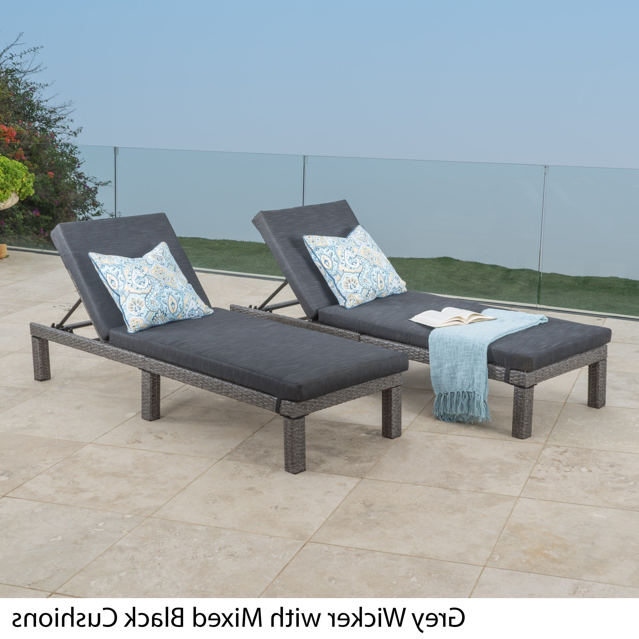 Puerta Outdoor Adjustable Pe Wicker Chaise Lounge With Cushion Christopher Knight Home (Set Of 2) Pertaining To Most Recently Released Outdoor Wicker Adjustable Chaise Lounges With Cushions (View 19 of 25)