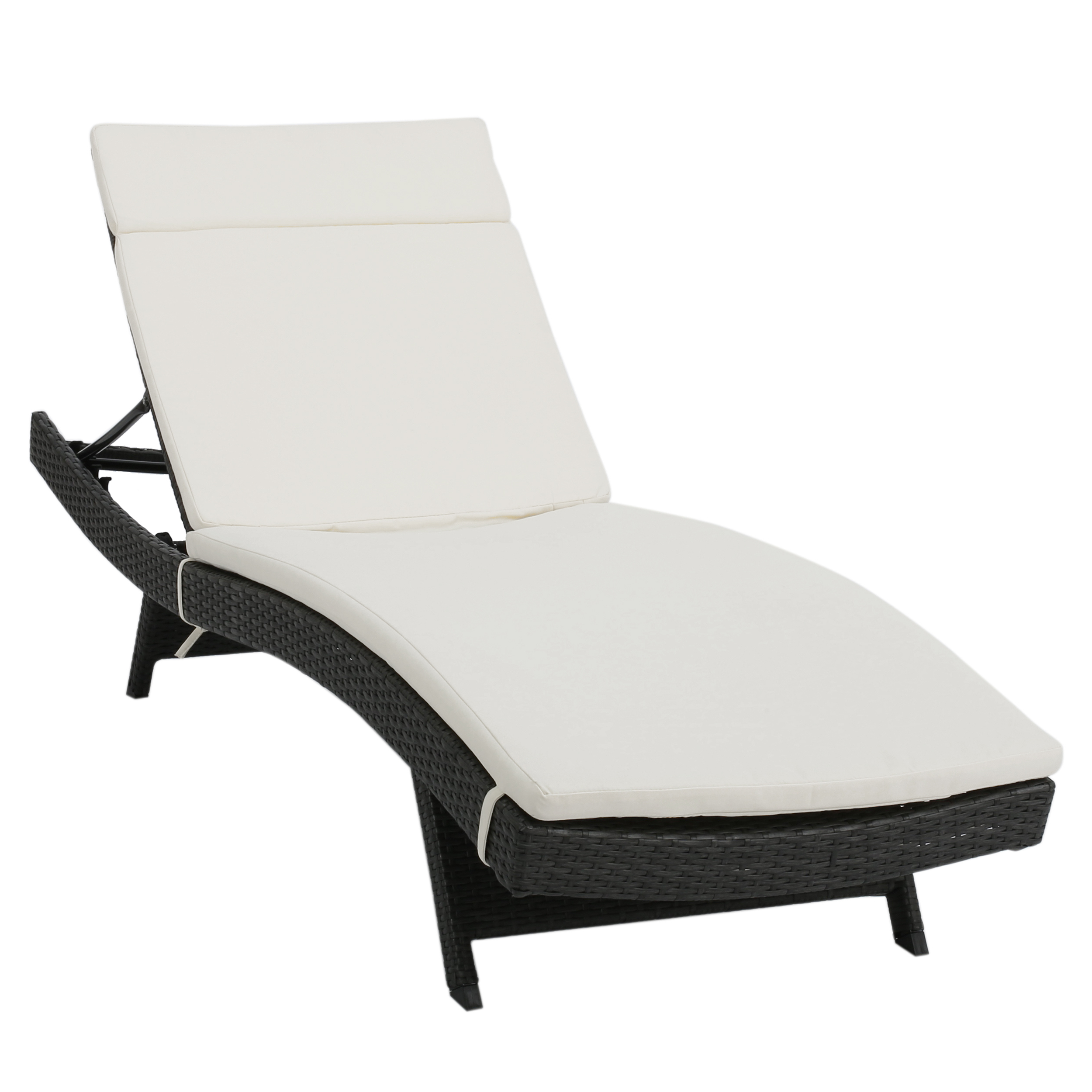 Raleigh Outdoor Wicker Adjustable Chaise Lounge With Cushion, Single Set,  Multiple Colors Inside Preferred Outdoor Wicker Adjustable Chaise Lounges With Cushions (View 20 of 25)