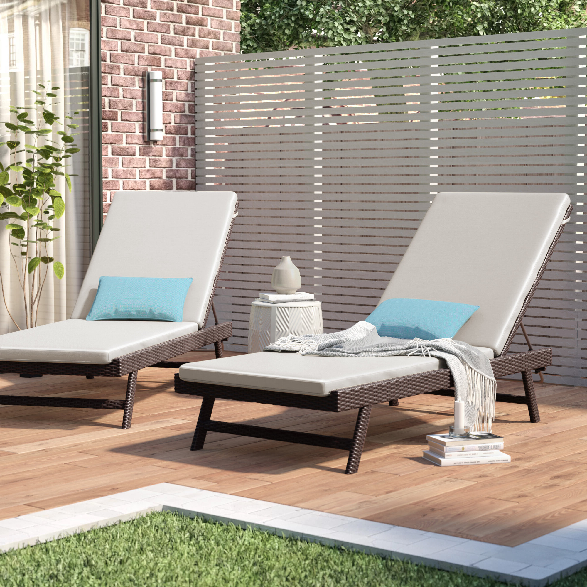Rametta Reclining Chaise Lounge With Cushion With Widely Used Outdoor Adjustable Reclining Wicker Chaise Lounges (View 18 of 25)