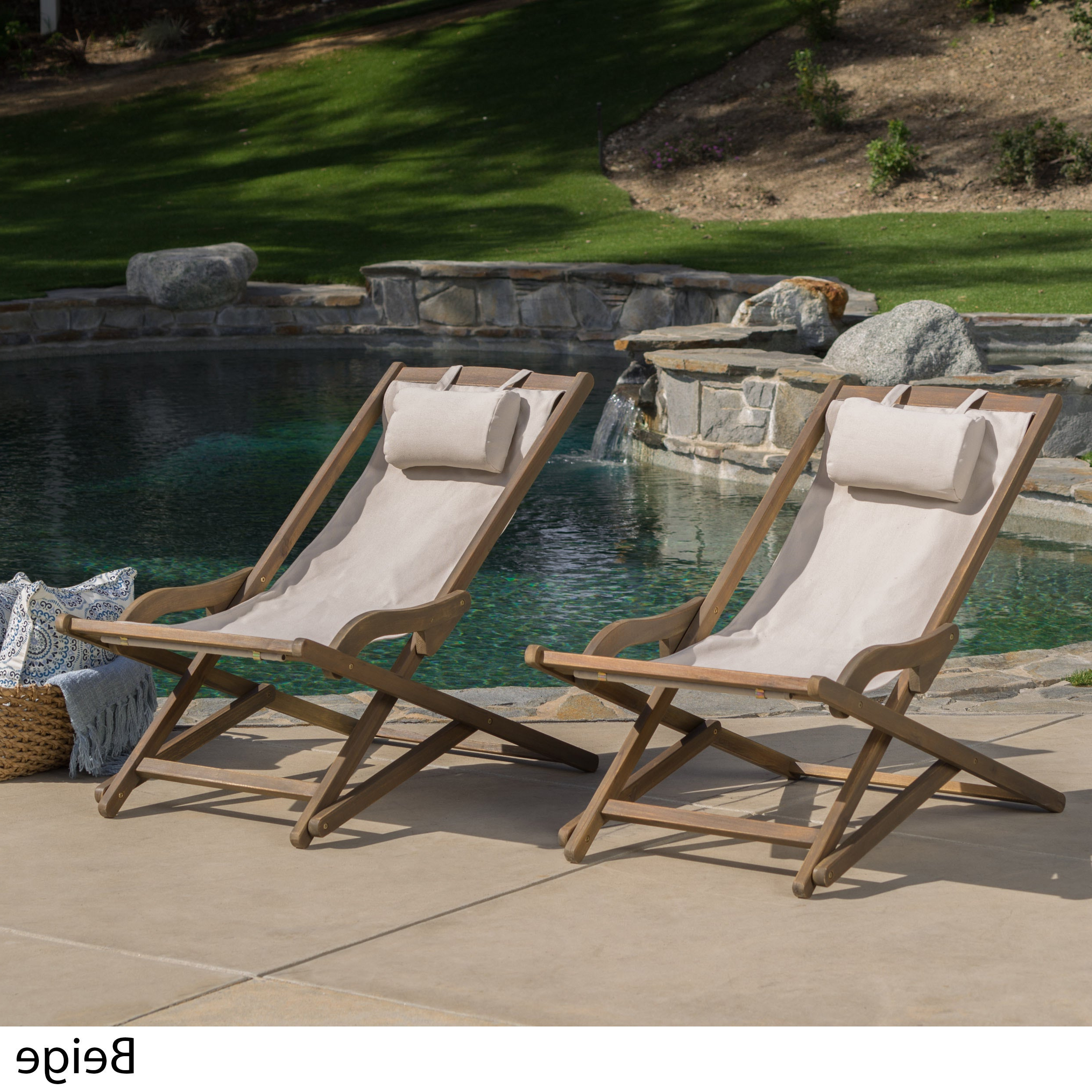 Recent Amazonia Copacabana Wood Swing Chairs Intended For Nikki Outdoor Wood Sling Chair (Set Of 2)Christopher Knight Home (View 19 of 25)