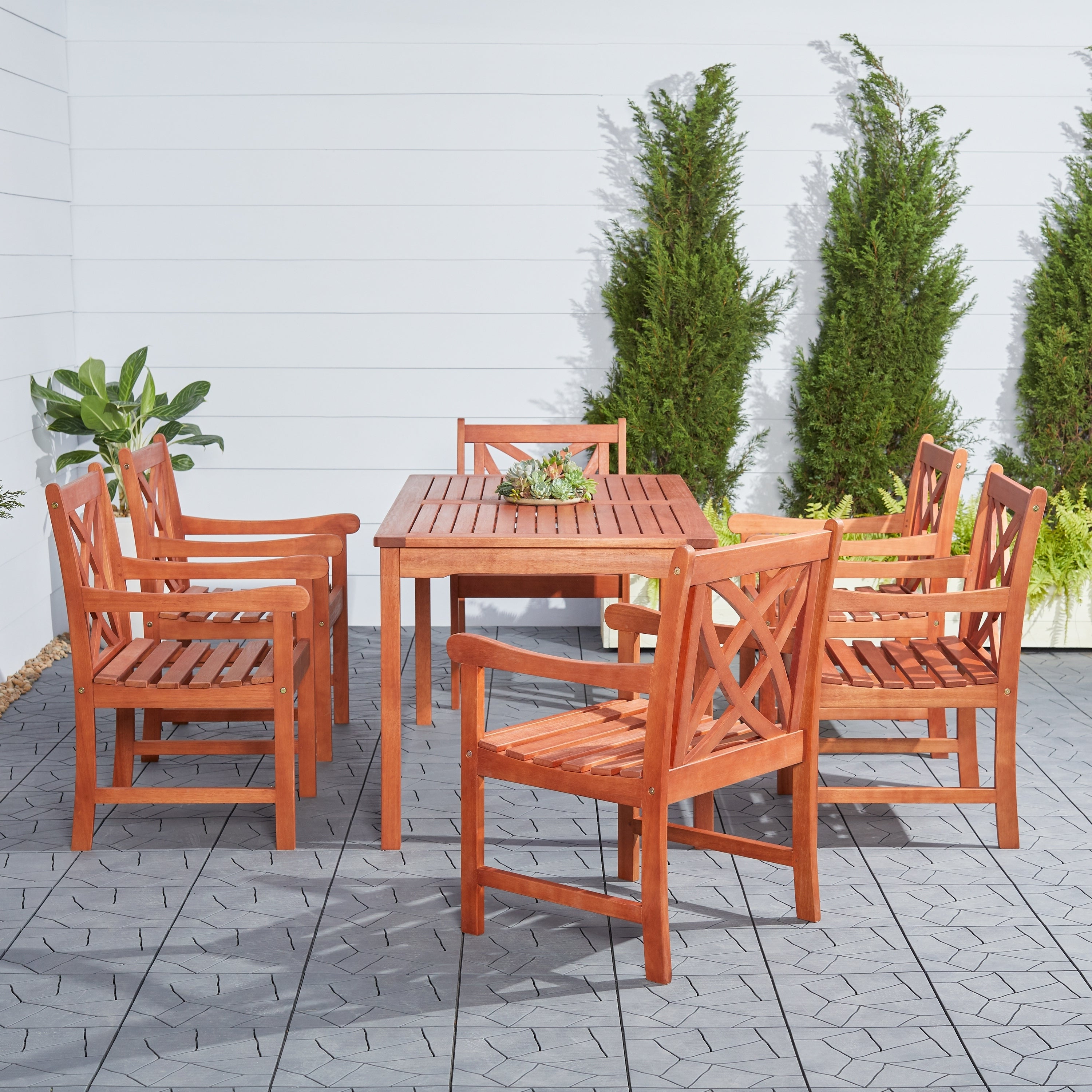 Recent Havenside Home Surfside Eco Friendly 7 Piece Eucalyptus Wood Outdoor Dining Set Within Havenside Home Surfside Outdoor Lounge Chairs (View 7 of 25)