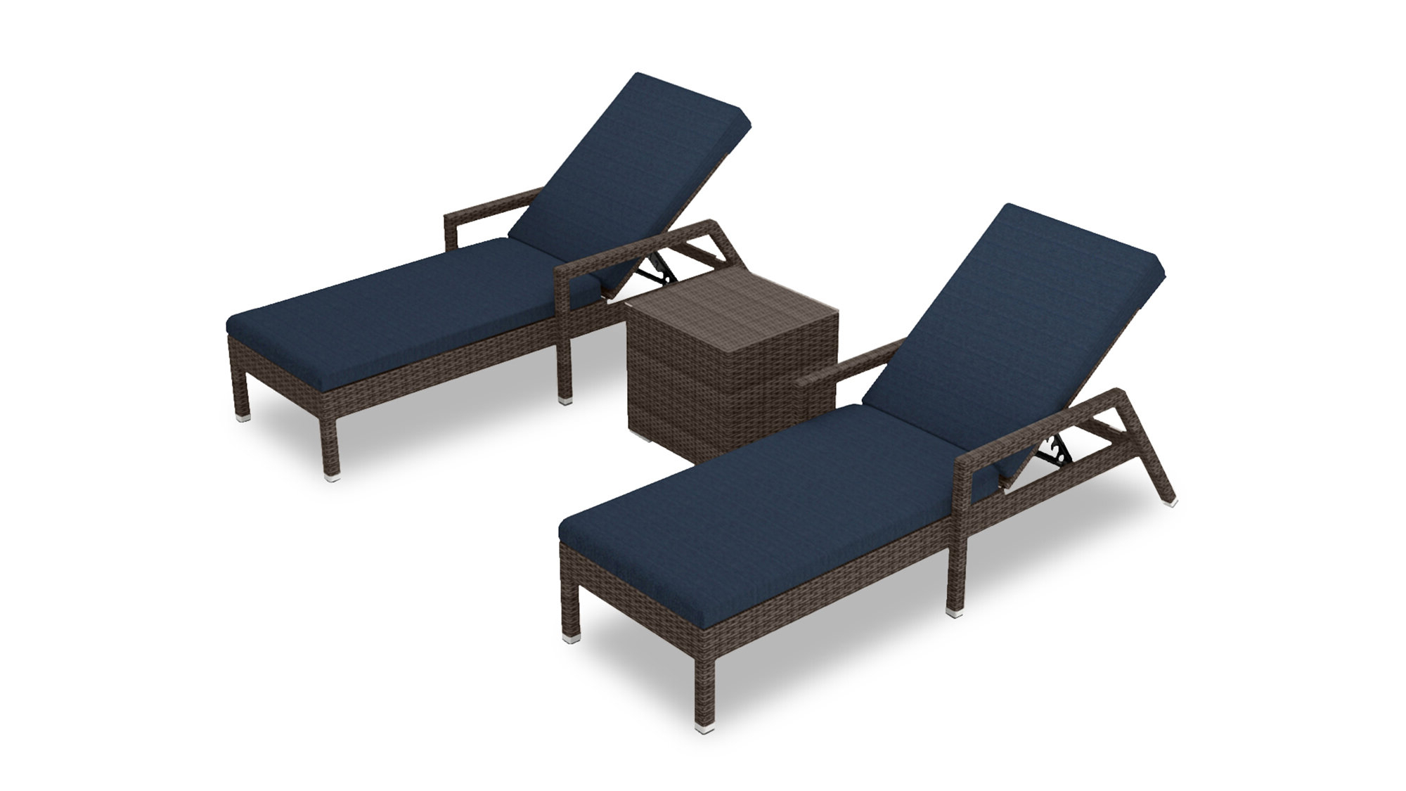 Featured Photo of Outdoor 3-piece Chaise Lounger Sets with Table