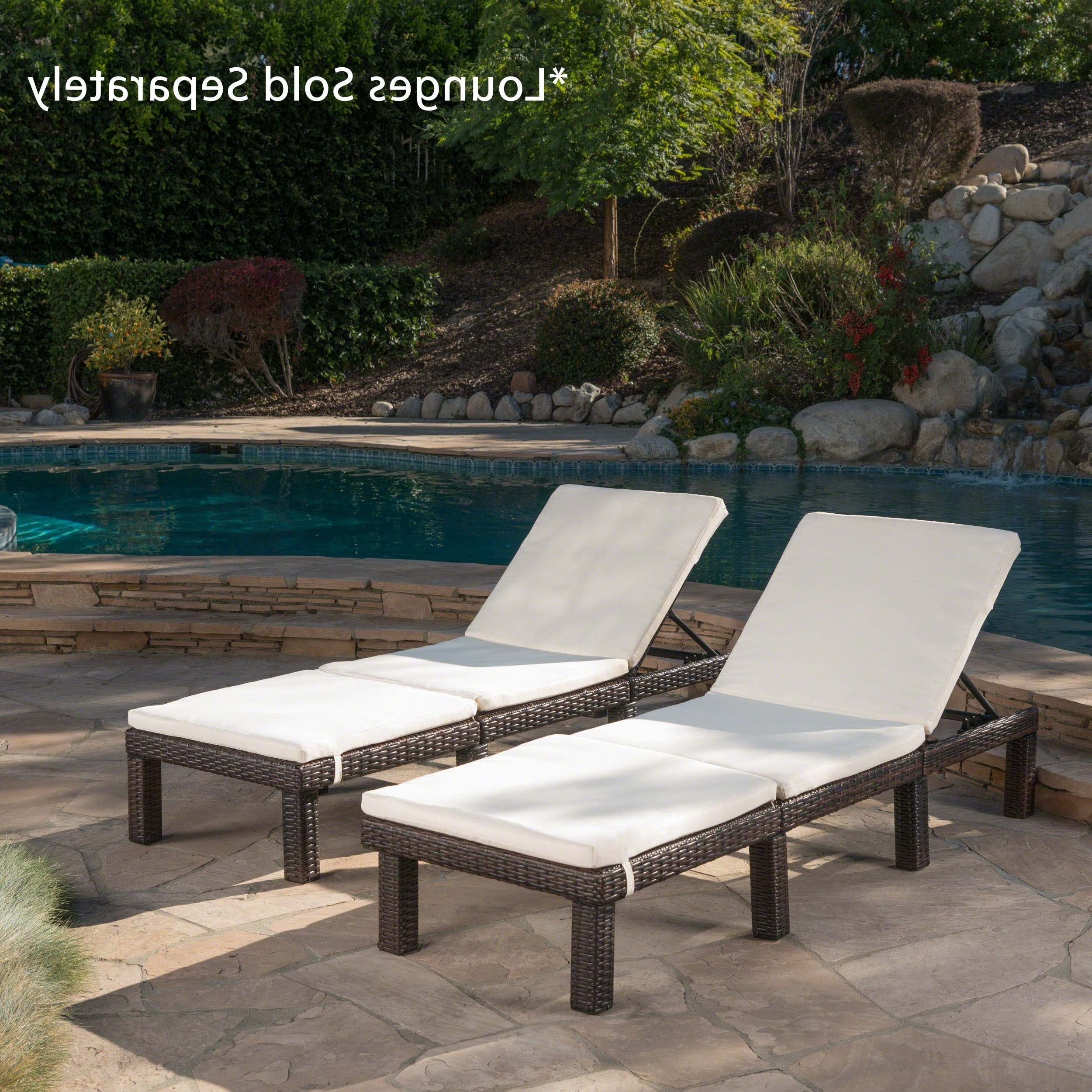 Recent Jamaica Outdoor Chaise Lounges Throughout Jamaica Outdoor Water Resistant Chaise Lounge Cushion (set Of 2) Christopher Knight Home (View 1 of 25)