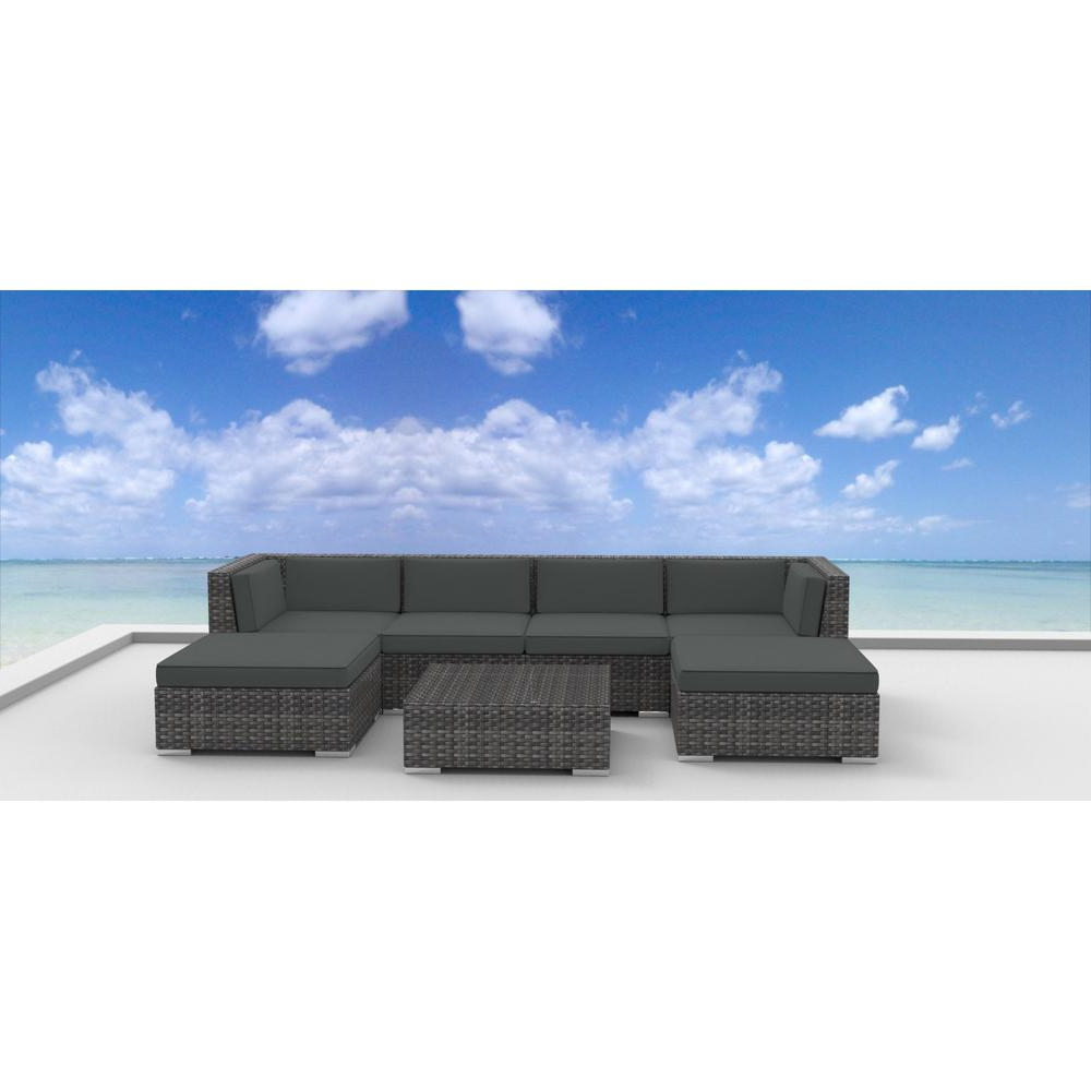 Recent Modern Home Wailea Woven Rattan Loungers Throughout Urban Furnishing Maui 7 Piece Wicker Outdoor Sectional Seating Set With Gray Cushions (View 5 of 25)