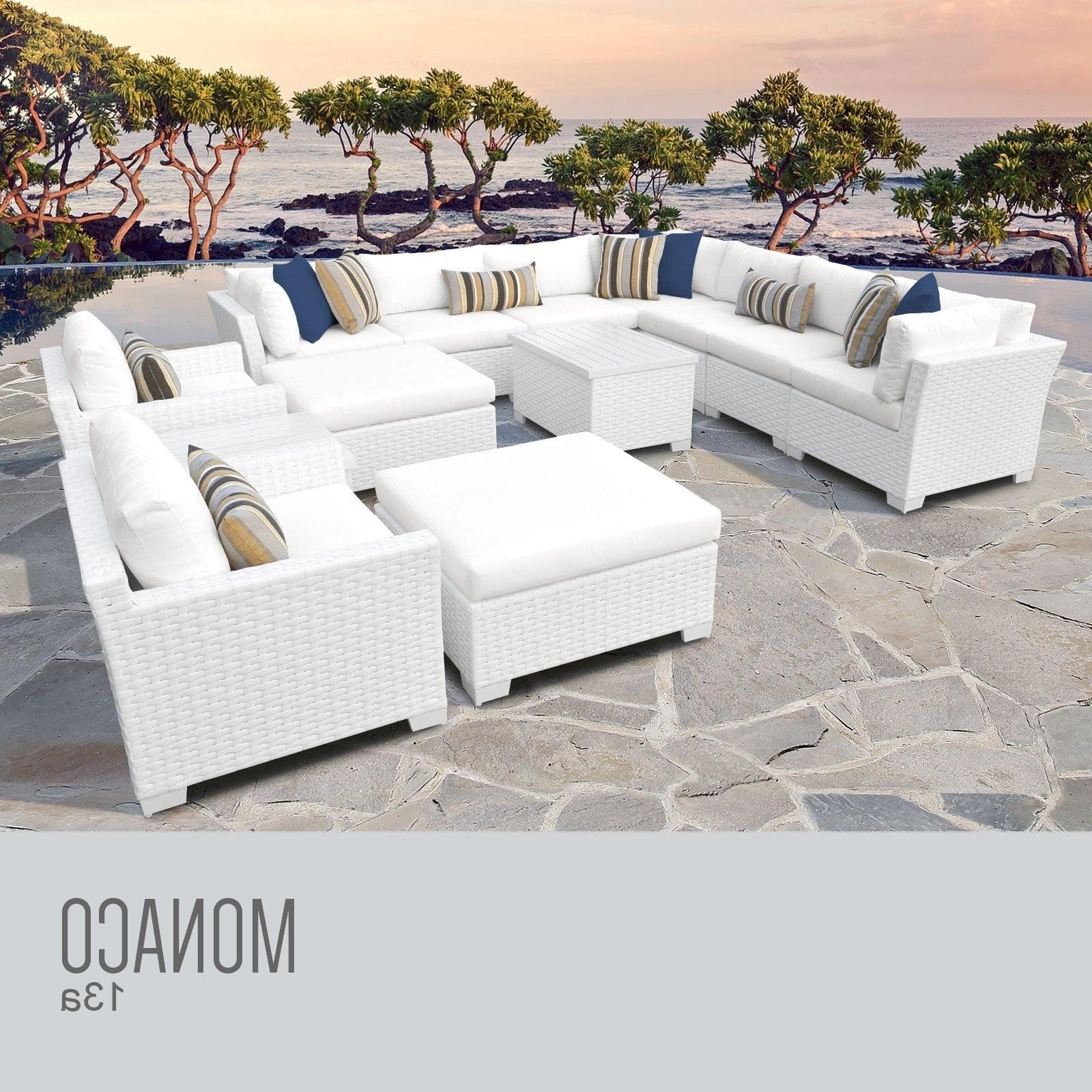 Recent Monaco 13 Piece Outdoor Wicker Patio Furniture Set 13A For Outdoor 13 Piece Wicker Patio Sets With Cushions (View 21 of 25)