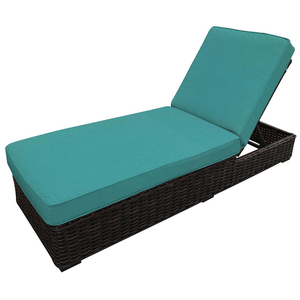 Recent Outdoor Adjustable Rattan Wicker Chaise Pool Chairs With Cushions Intended For Envelor Santa Monica Adjustable Wicker Outdoor Chaise Lounge With Sunbrella  Aruba Cushions (View 19 of 25)