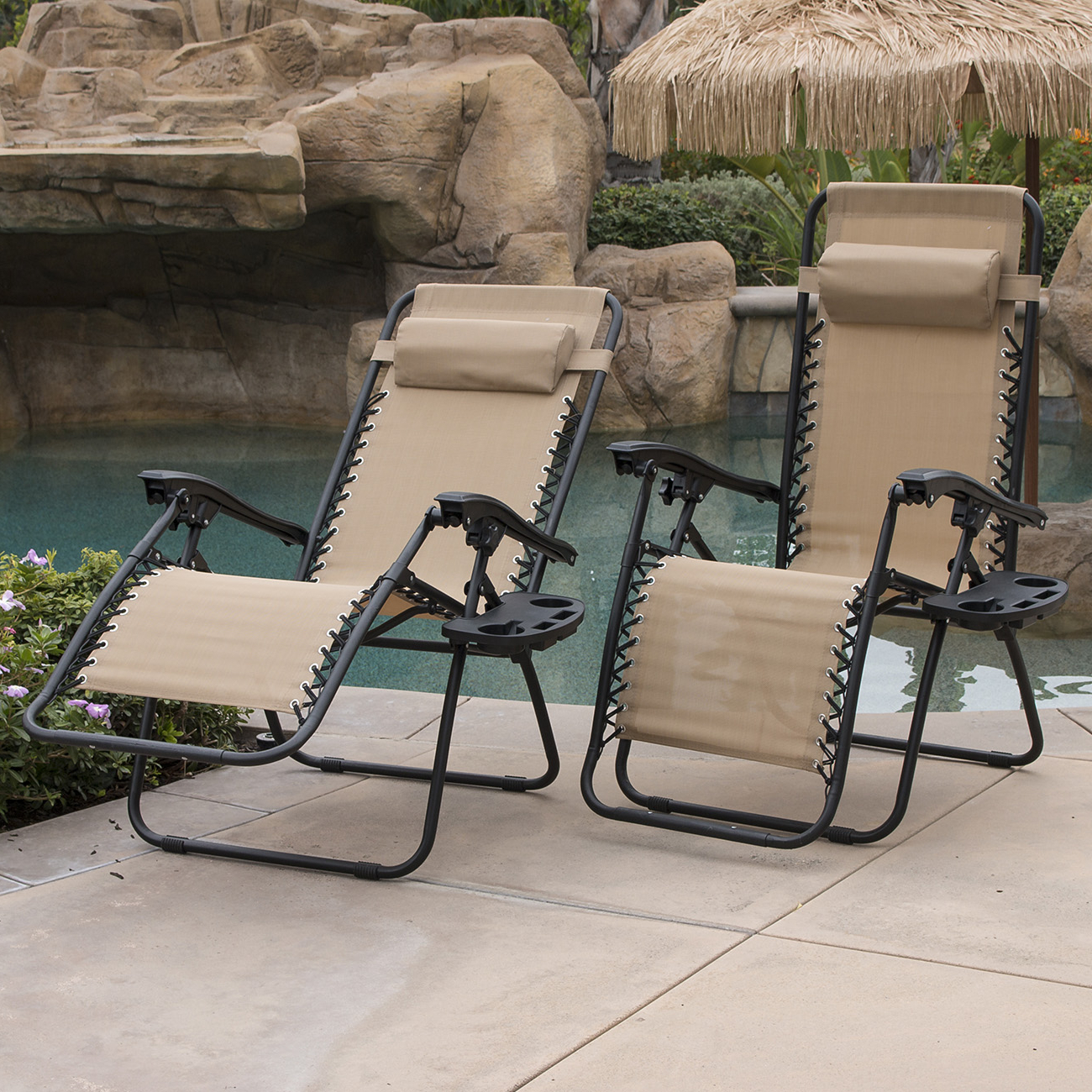 Recent Outdoor Yard Pool Recliner Folding Lounge Table Chairs With Belleze 2 Pack Zero Gravity Chairs Patio Lounge + Cup Holder/utility Tray (Tan) (View 5 of 25)