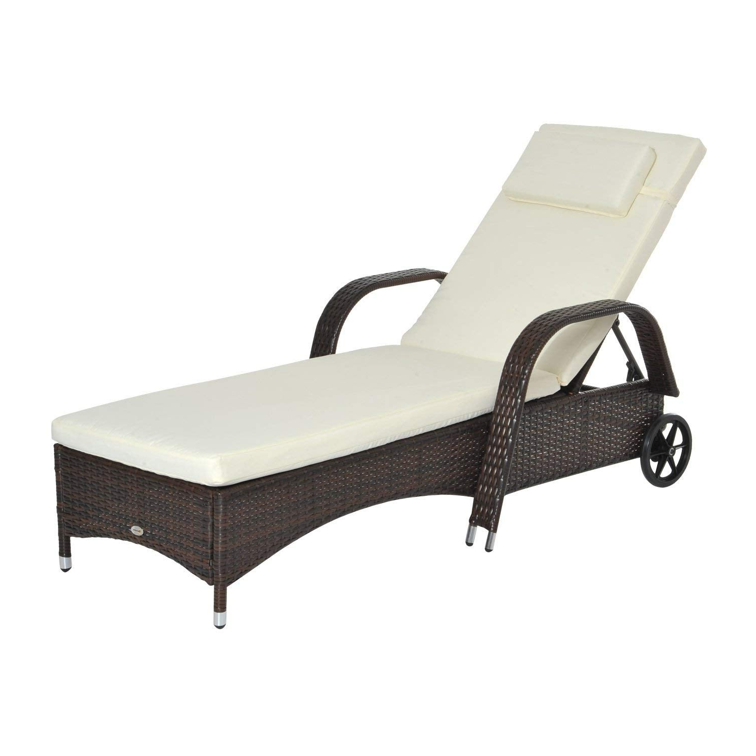 Recent Outsunny Outdoor Rattan Wicker Poolside Chaise Lounge Chair With Adjustable Backrest – Mixed Brown With Regard To Wicker Chaise Back Adjustable Patio Lounge Chairs With Wheels (View 3 of 25)