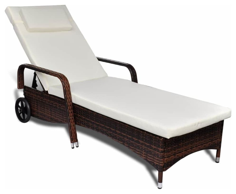 Recent Vidaxl Outdoor Sunbed Poly Rattan Wicker Brown Garden Sun Lounger Daybed Patio Within Modern Home Wailea Woven Rattan Loungers (View 2 of 25)