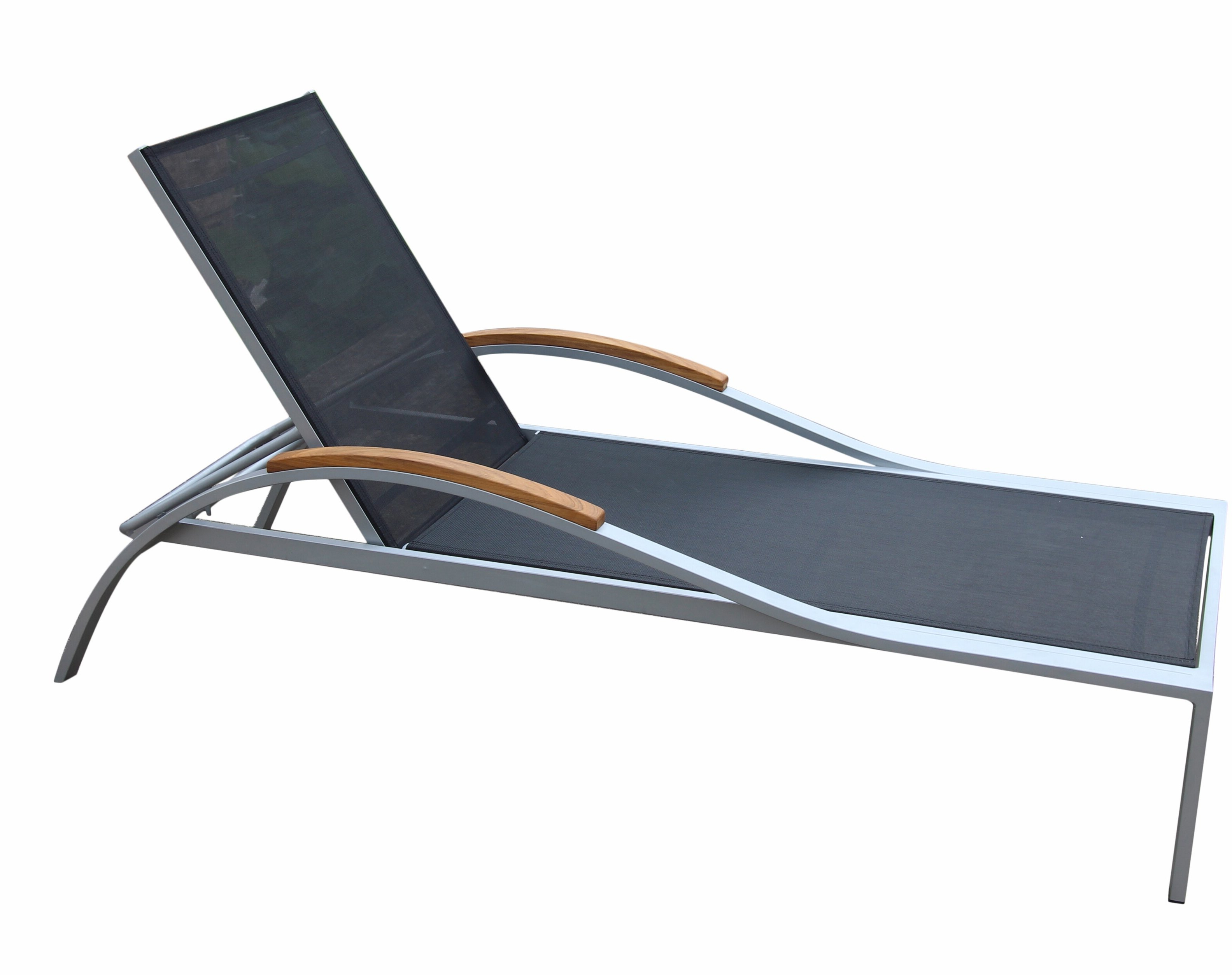 Reclining Sling Chaise Lounges For Well Known Dascomb Reclining Teak Chaise Lounge With Table (View 18 of 25)